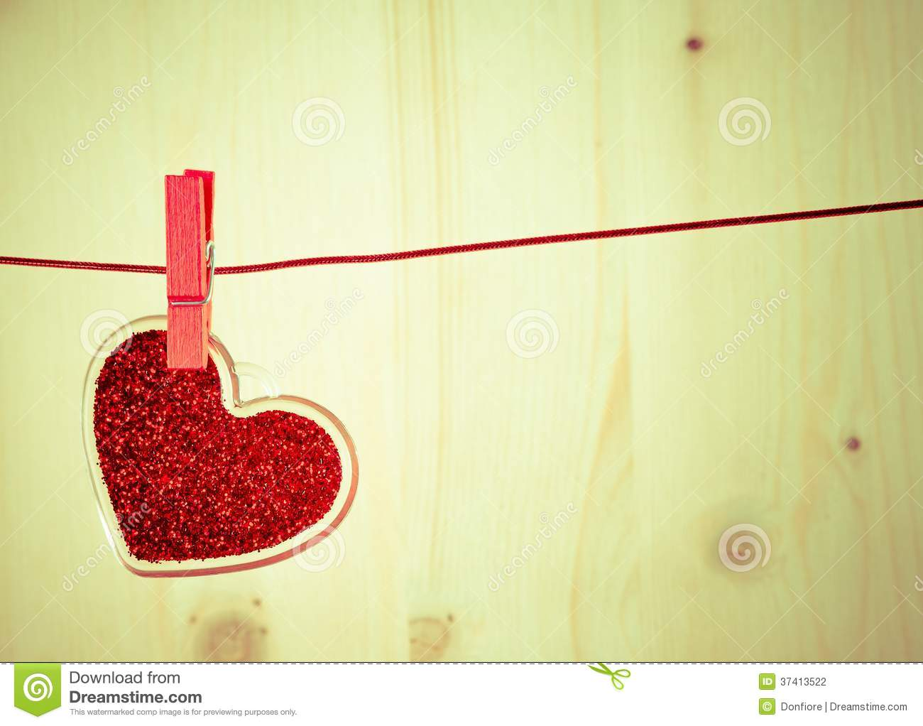 Vintage Decorative Red Heart Hanging On Wood Background, Concept Of ...