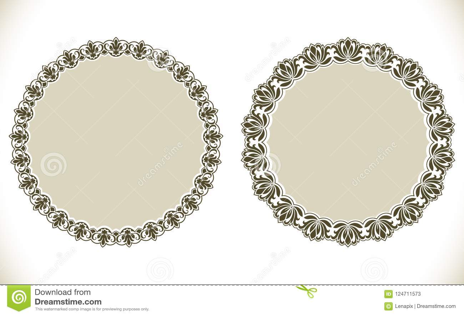 Vintage Decorative Round Frames Stock Vector - Illustration of ...