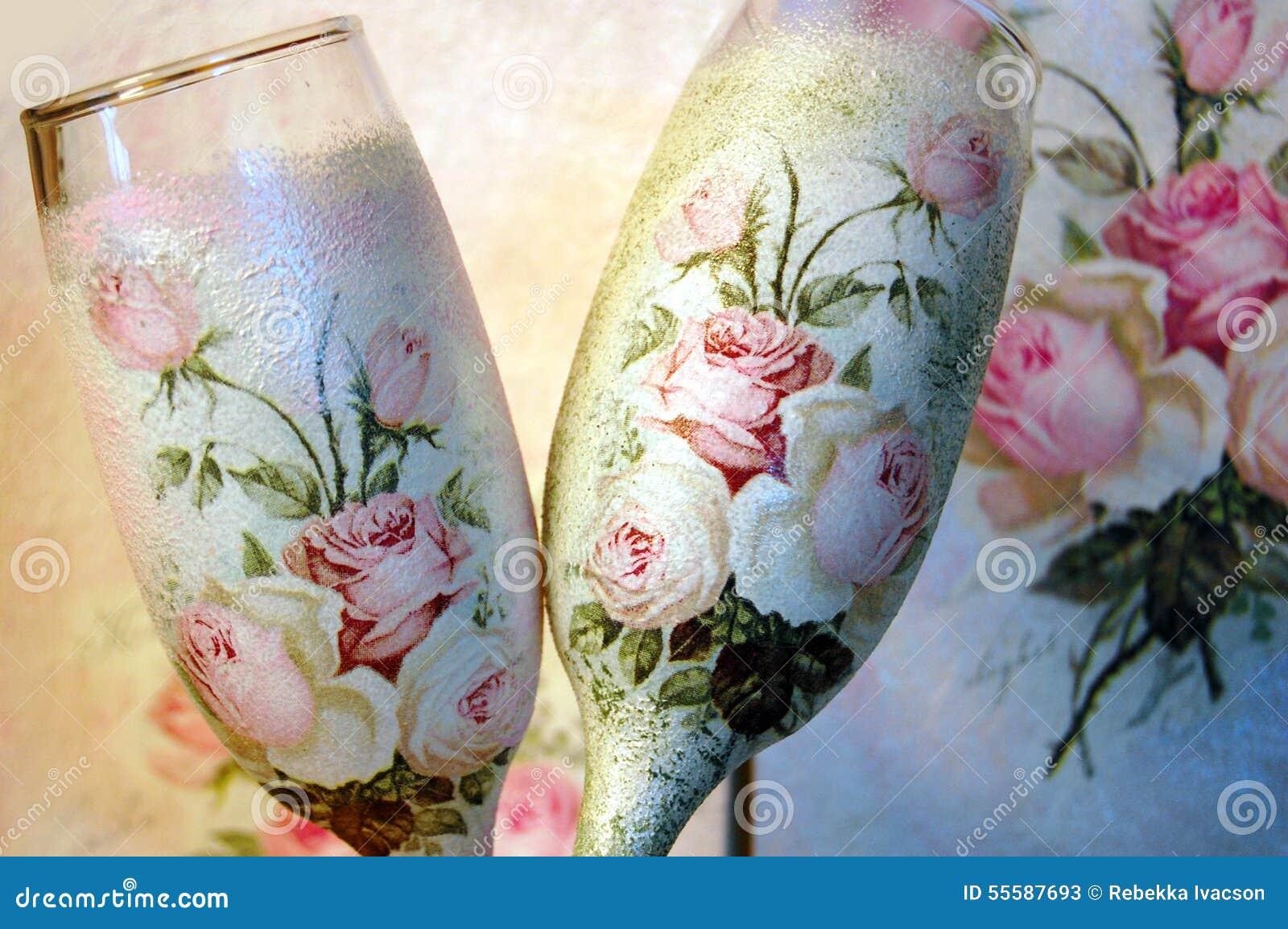 vintage decoupage decorated wineglasses stock image