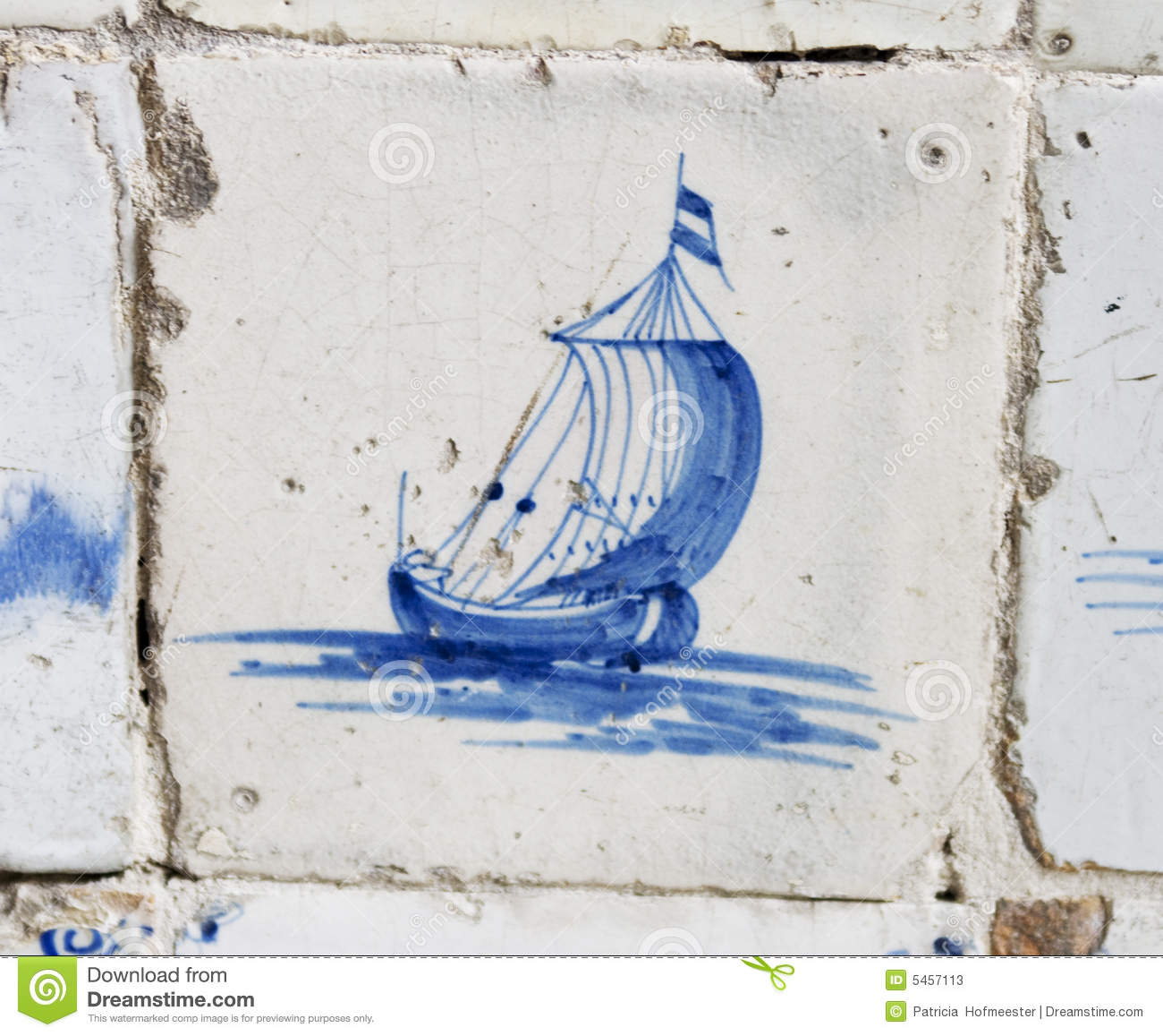 Vintage Delft Blue Tile With Dutch Sailing Ship Stock