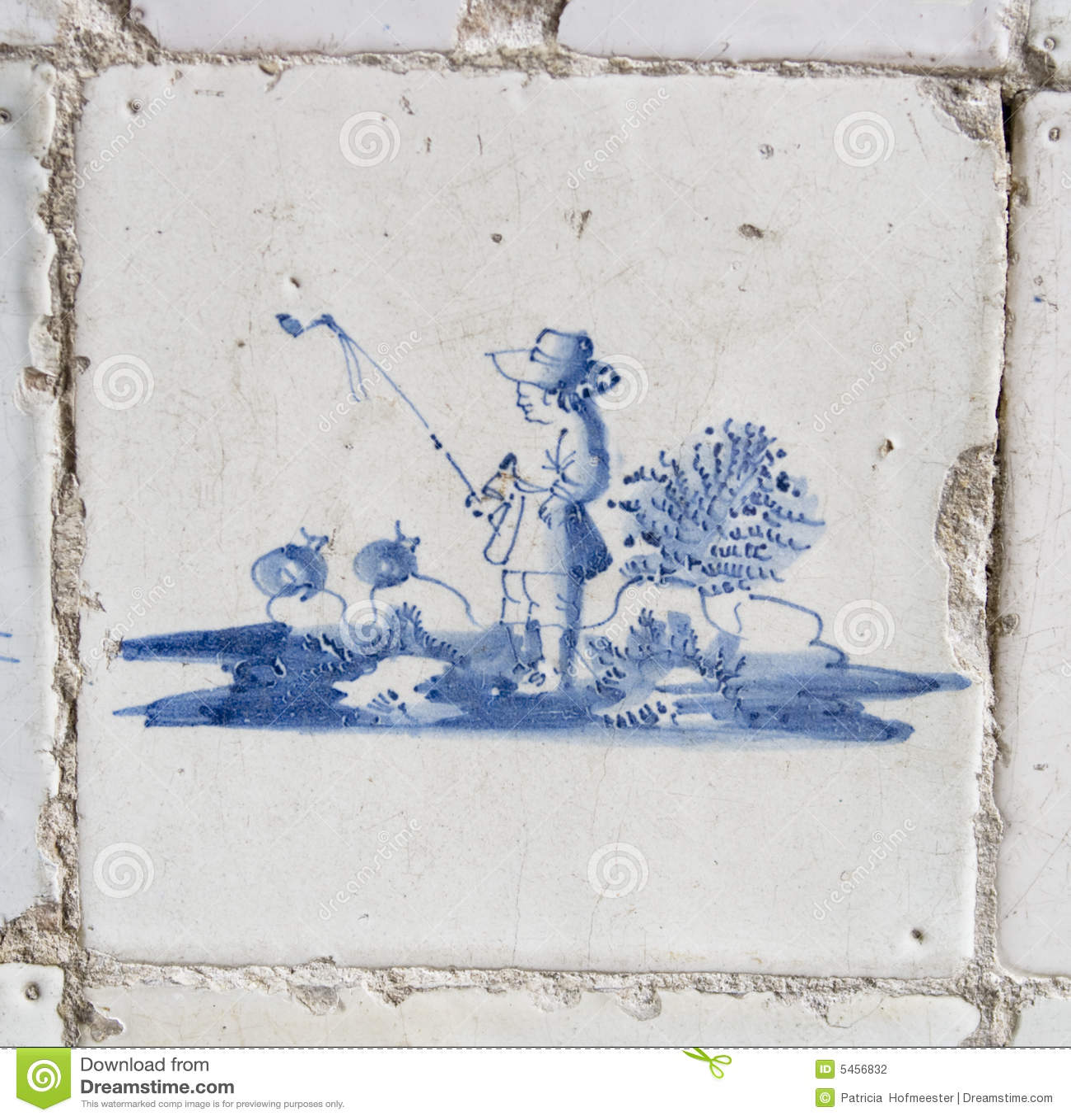 Vintage Delft Blue Tile With Fisherman Stock Photo Image