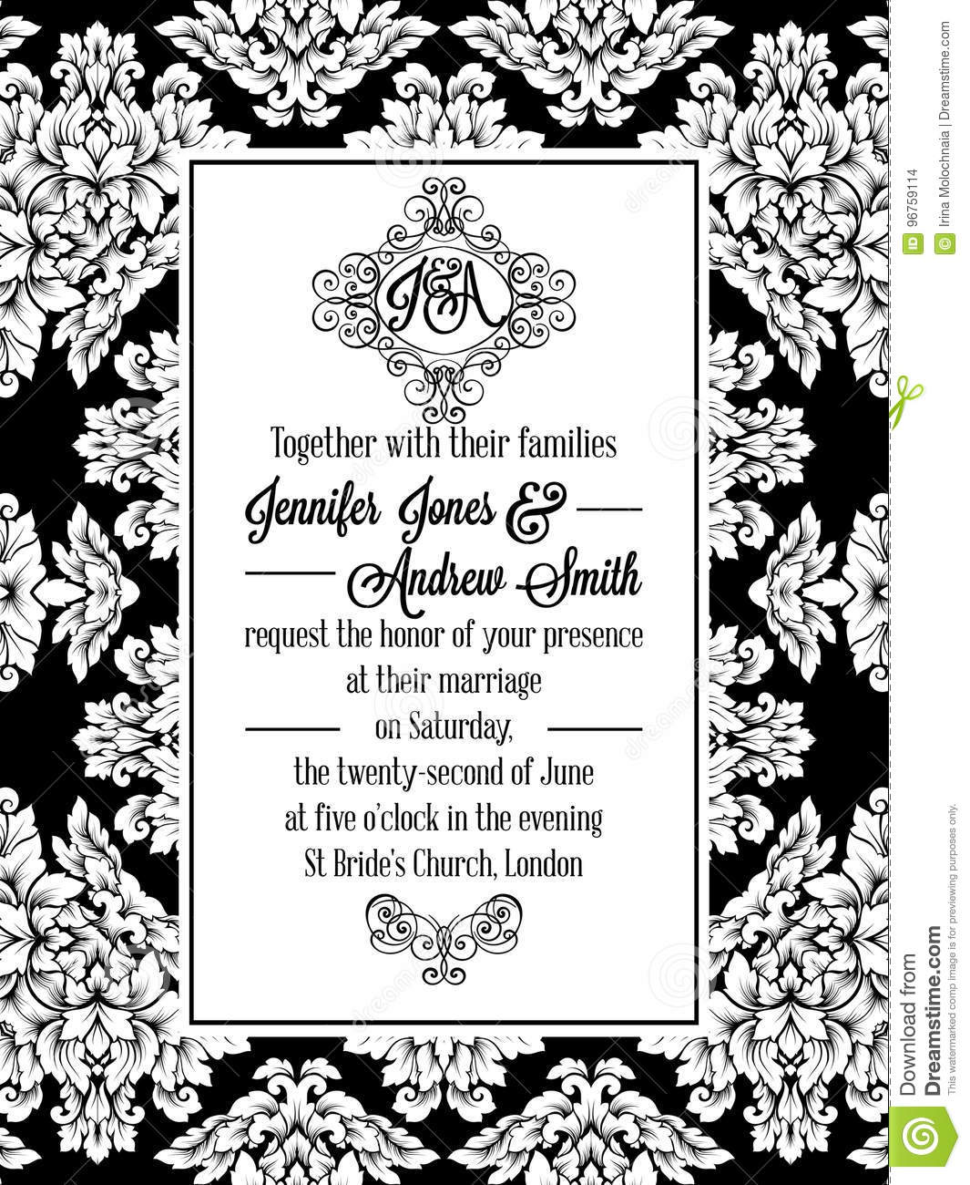 Vintage delicate formal invitation card stock vector illustration vintage delicate formal invitation card with black and white lacy design for wedding marriage bridal baroque style flourish decoration stopboris Image collections
