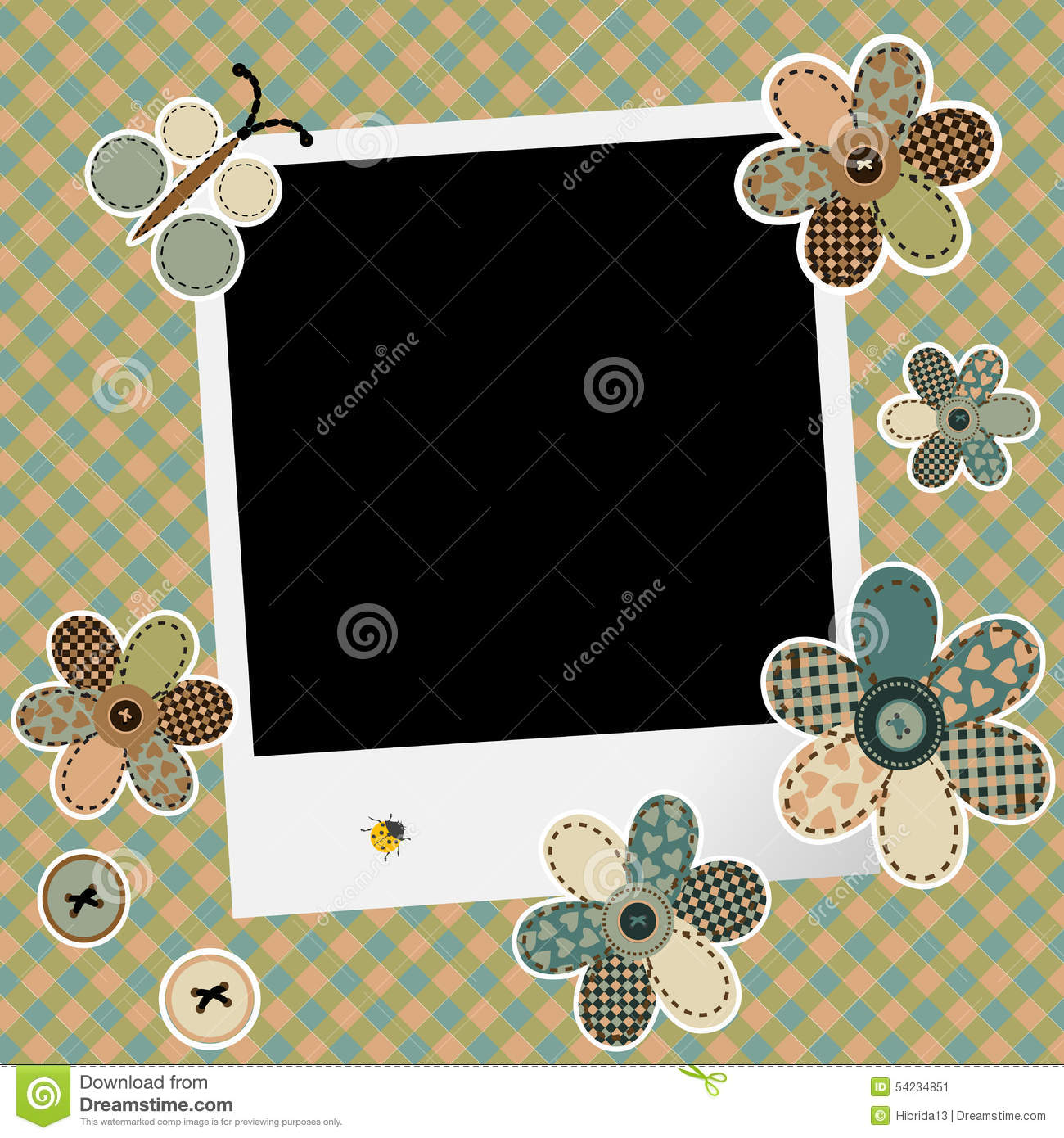Vintage design background for scrapbook with photo frame stock vector illustration of baby - Photo image design ...