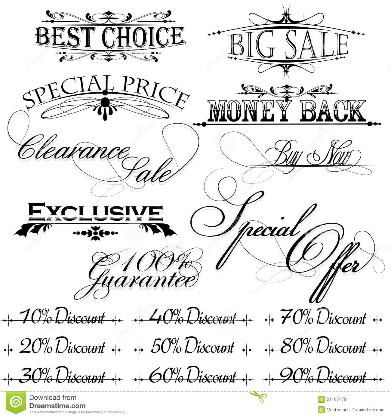 Vintage design elements for sale text