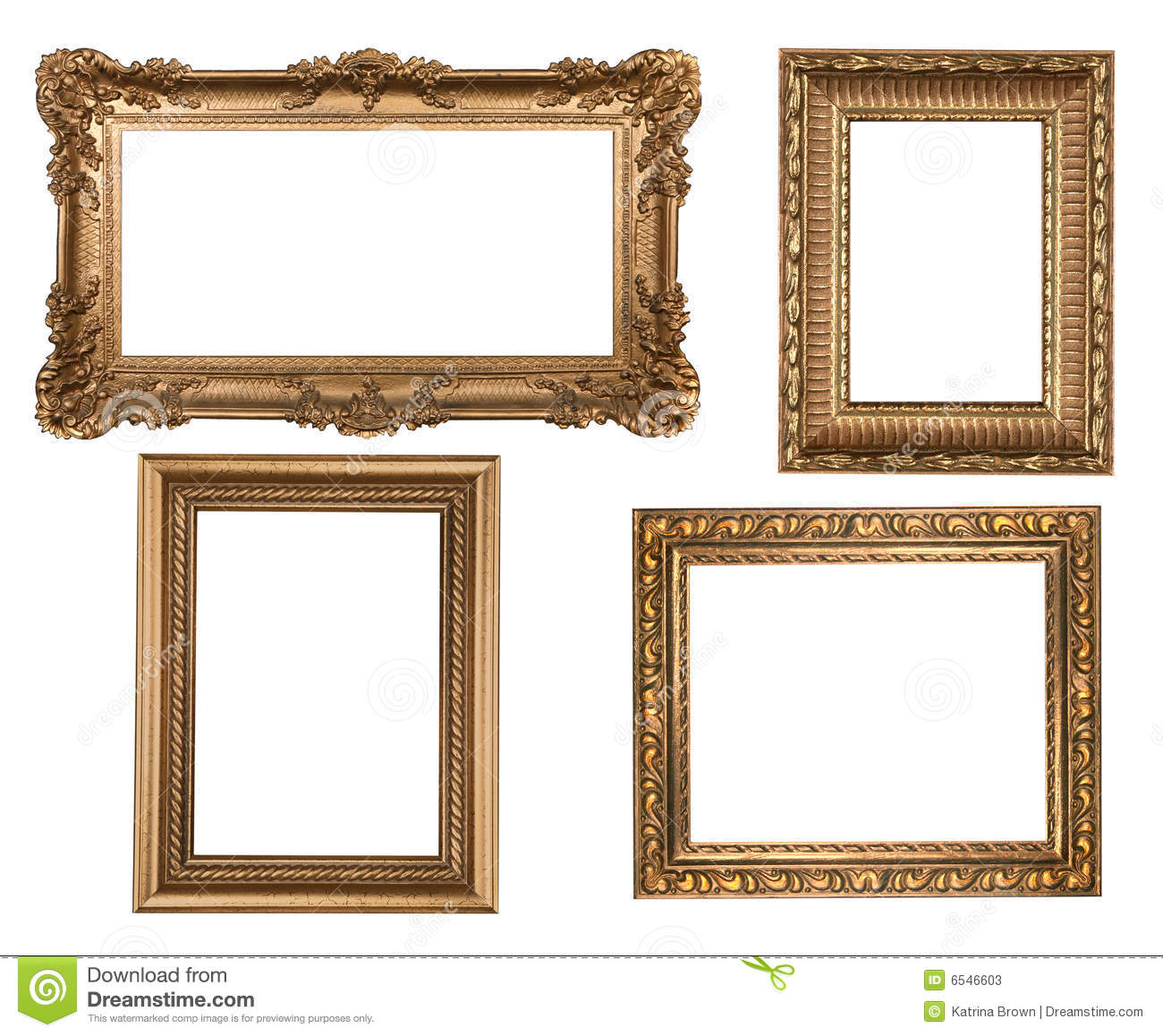 Vintage Detailed Gold Empty Picure Frames Stock Image - Image of ...