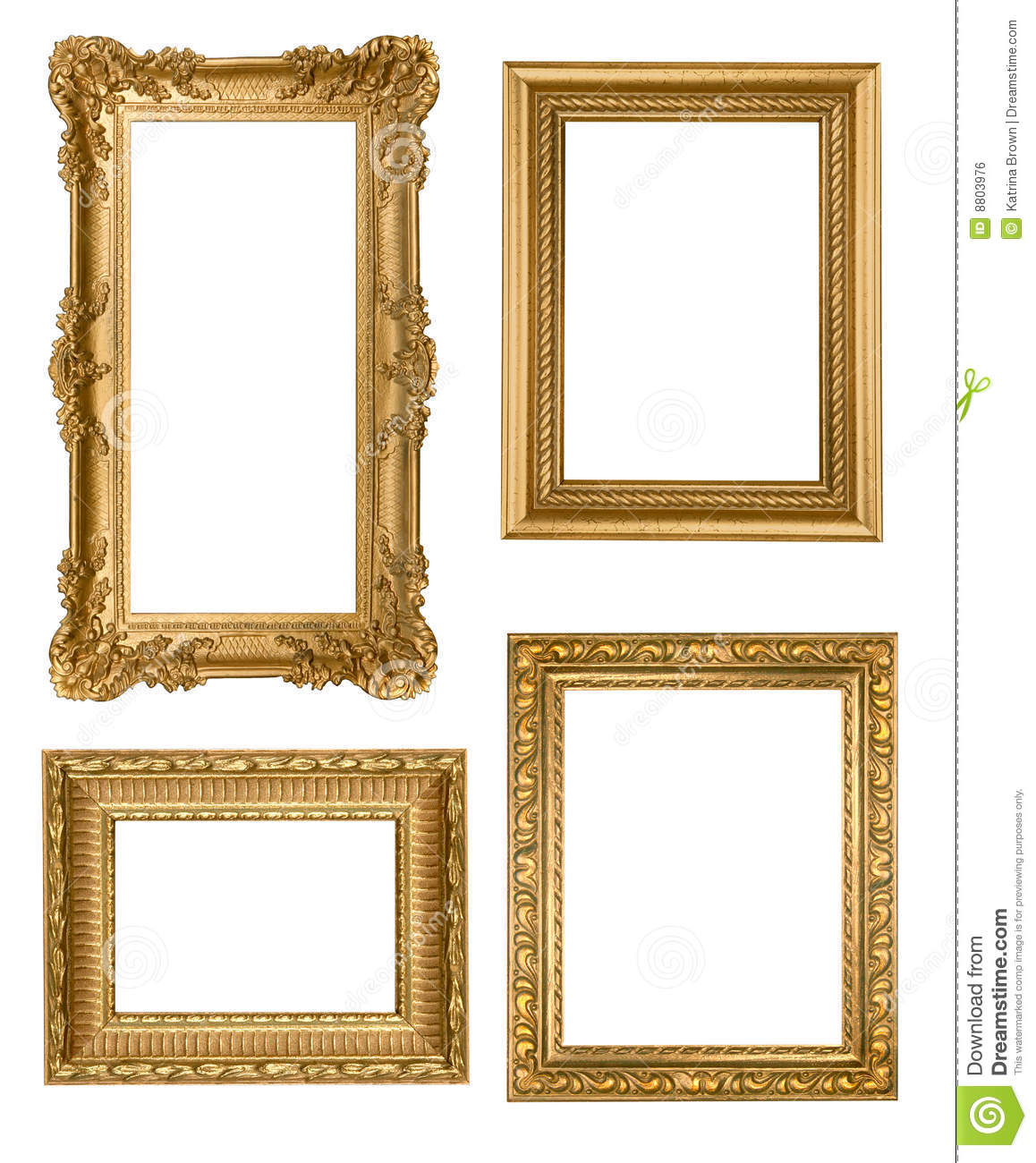 Vintage detailed gold empty picure frames royalty free for What to do with empty picture frames