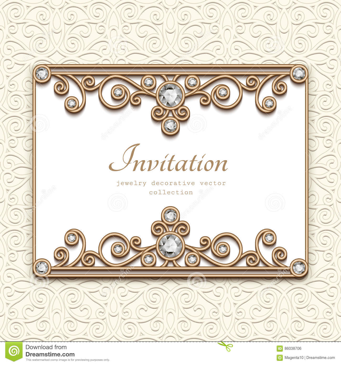Vintage Diamond Jewelry Card Invitation Template Stock