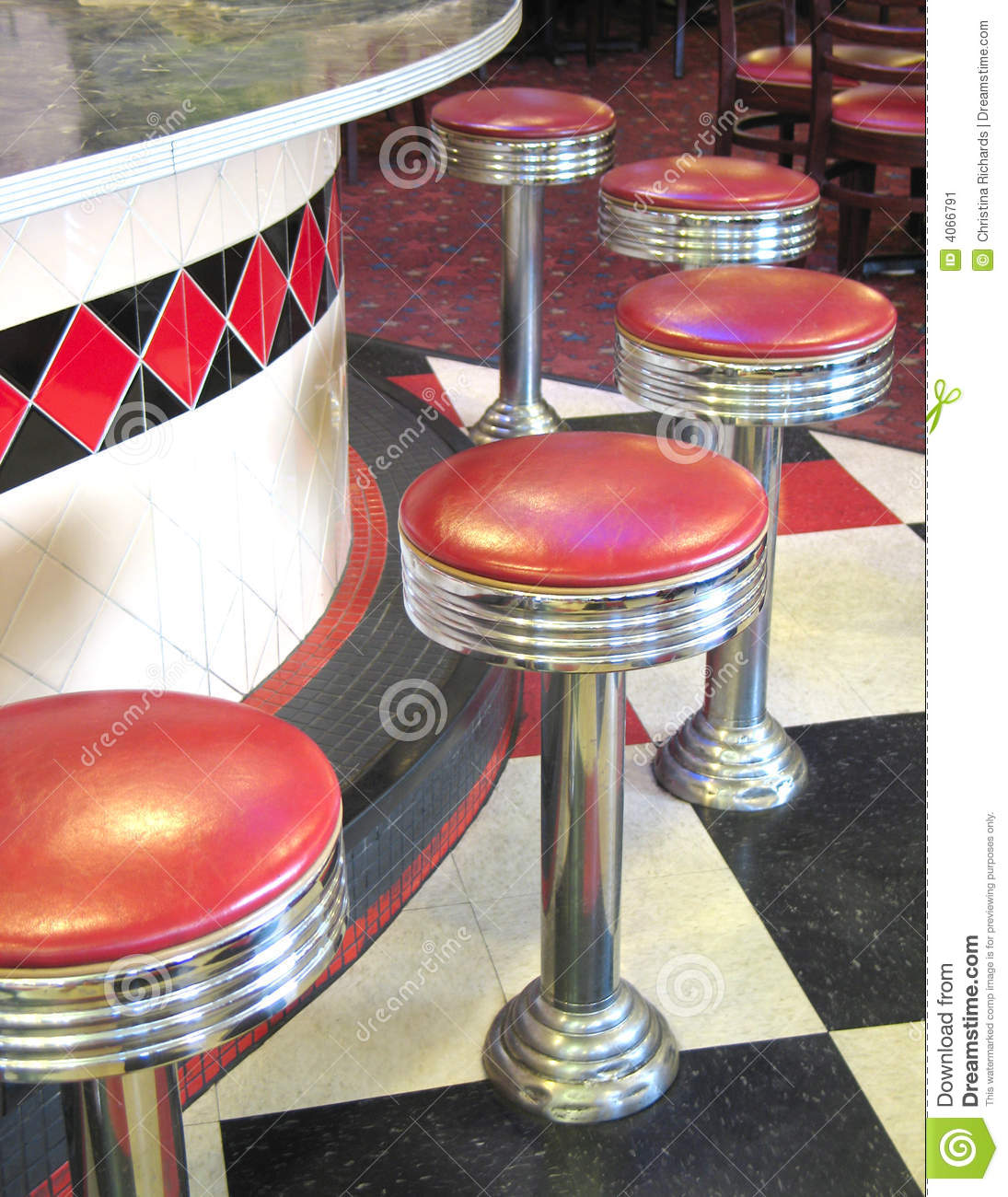 Vintage Diner Stock Image Of Bistro Checkers Interior