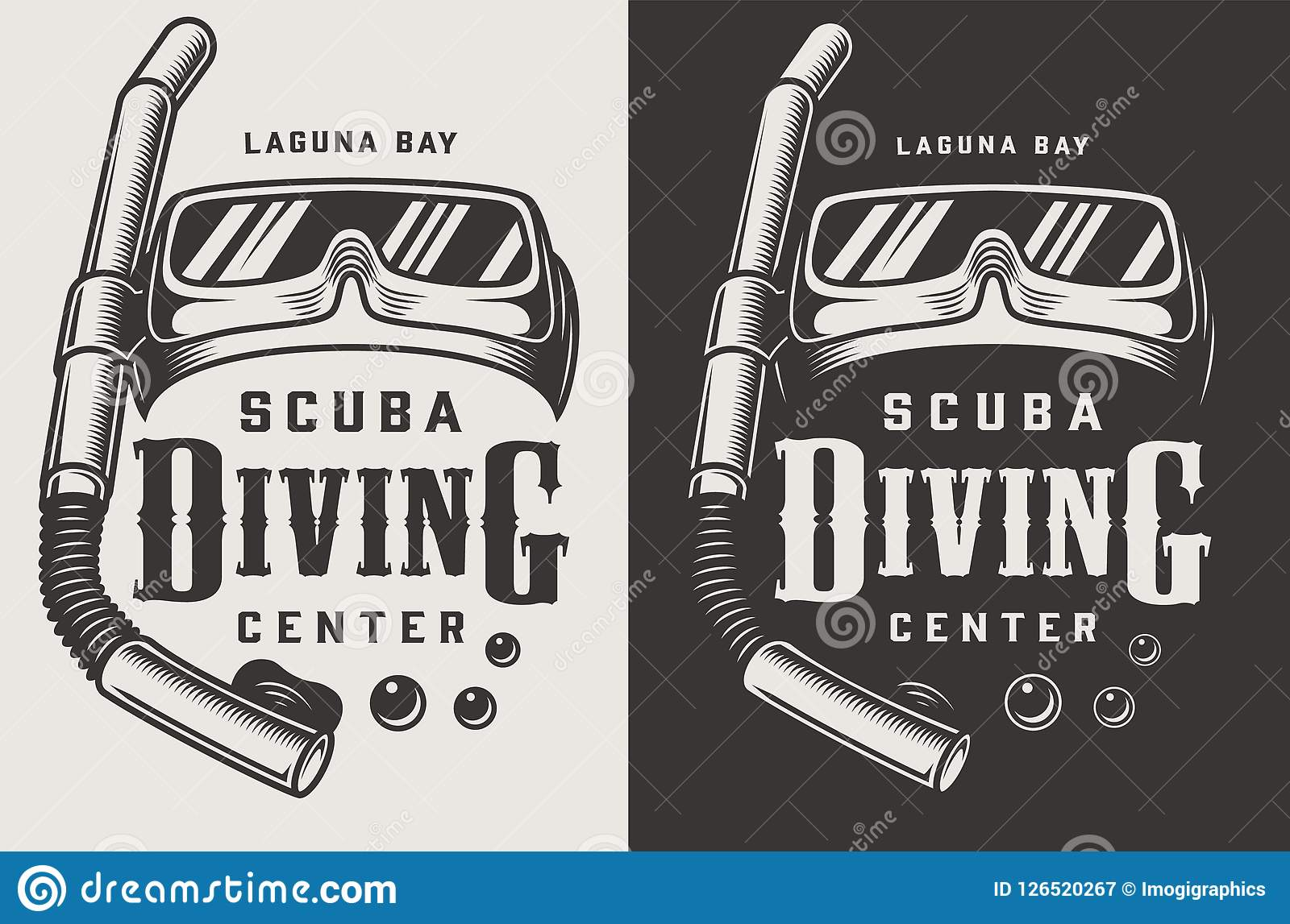 Vintage diving center monochrome logotypes