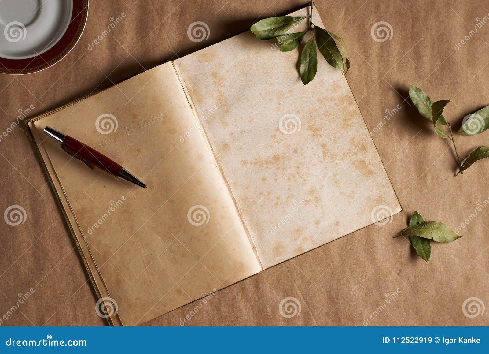 Vintage do caderno para a poesia