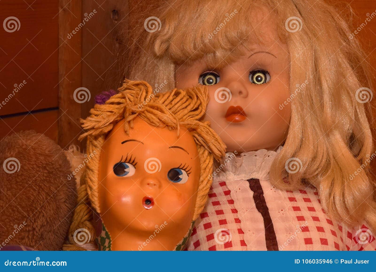 dolls with creepy eyes stock photo. image of vintage - 106035946