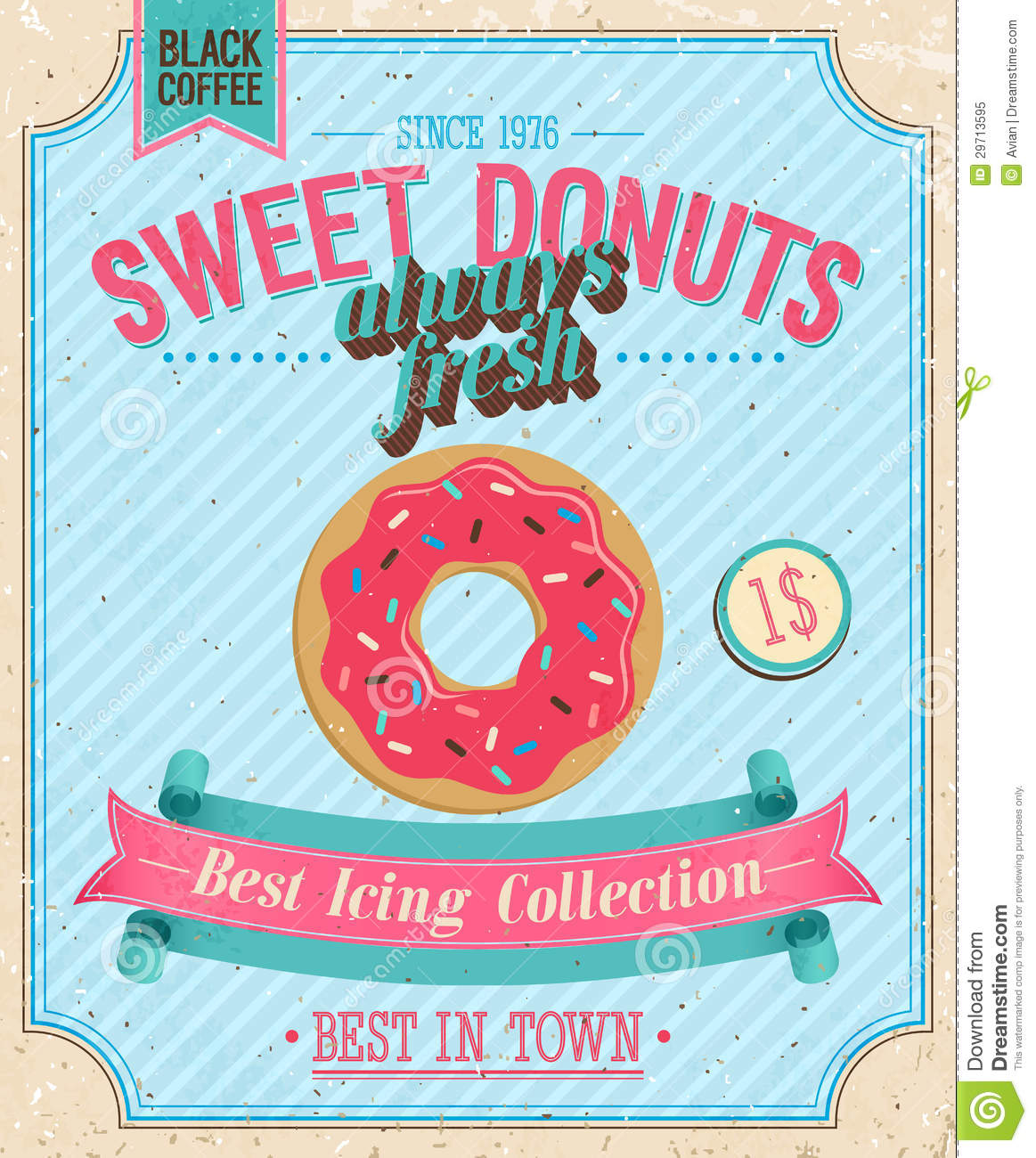 Vintage Donuts Poster Royalty Free Stock Photo Image