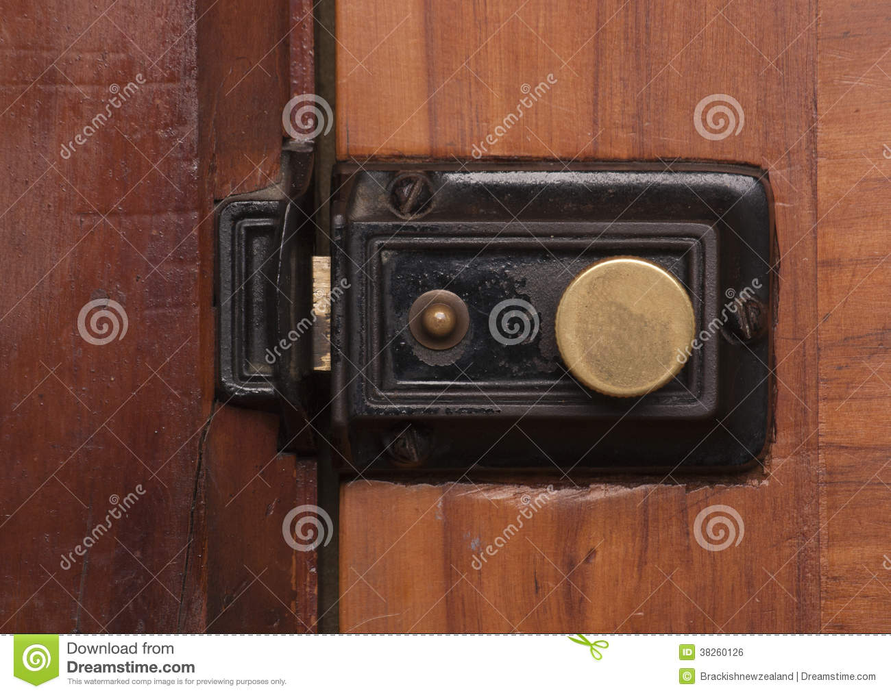 Royalty-Free Stock Photo. Download Vintage Door Bolt ... - Vintage Door Bolt And Lock Royalty Free Stock Image - Image: 38260126