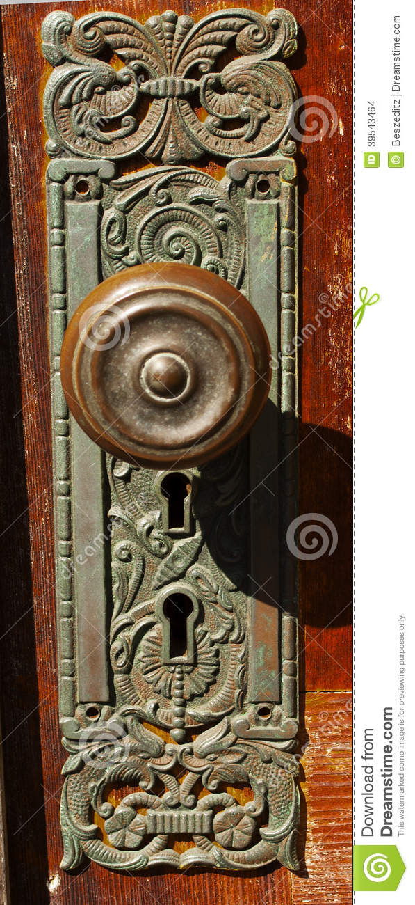 Vintage Door Knob Double Key Hole Stock Photo Image 39543464