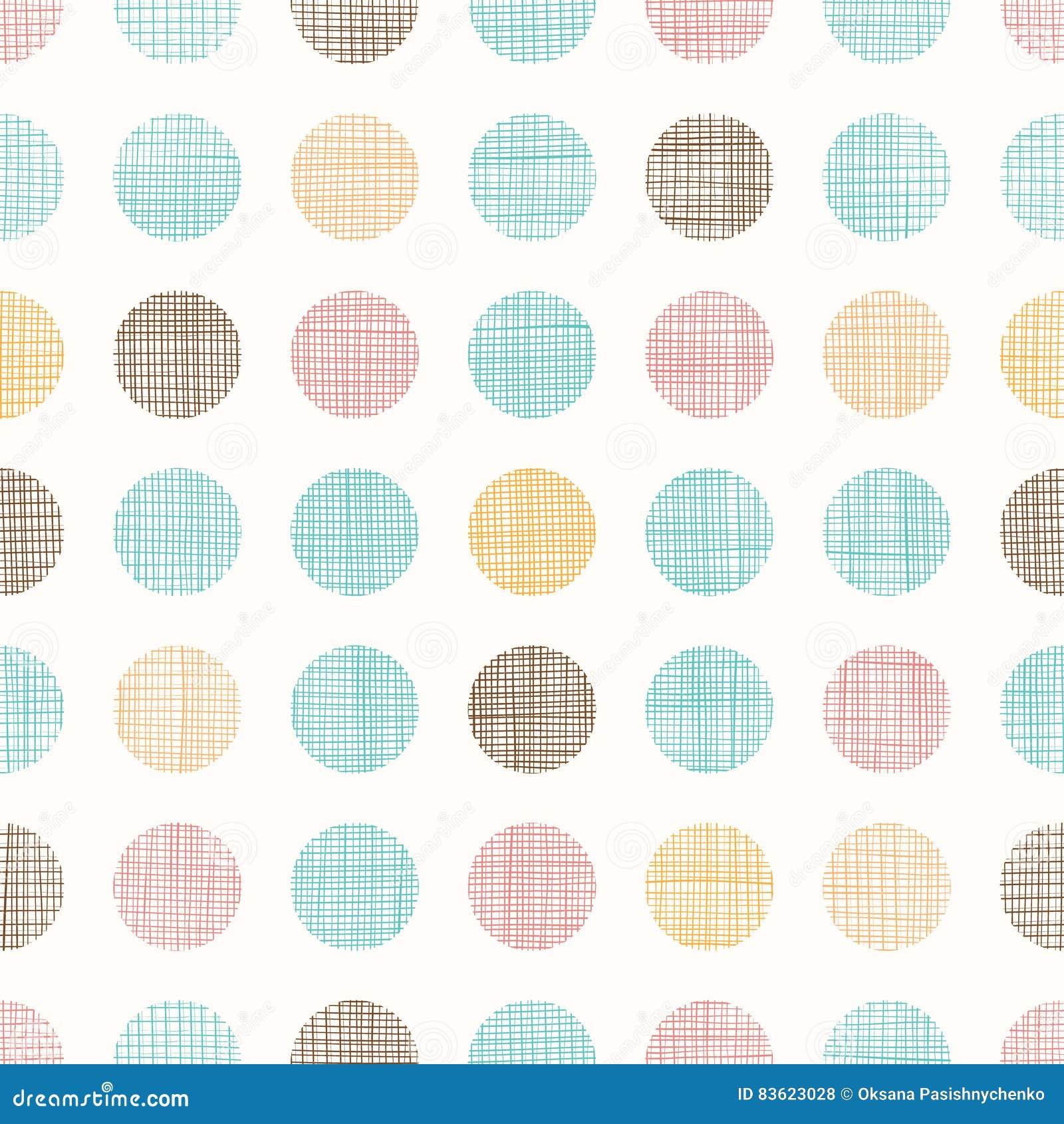 Vintage Dots Circles Seamless Pattern Background do vetor com textura da tela Aperfeiçoe para o berçário, aniversário, circo ou