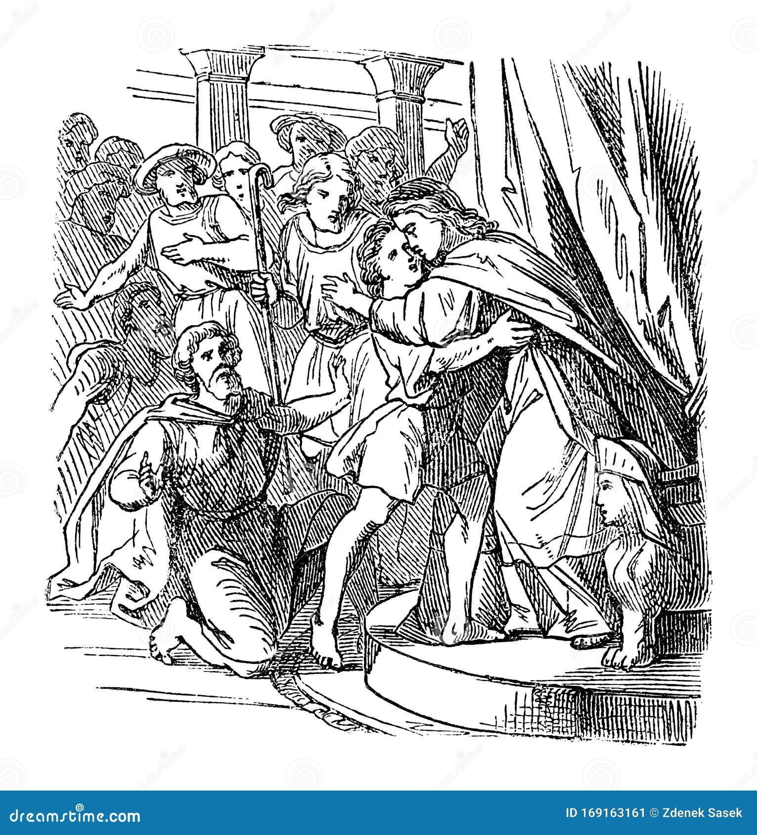 The Gospel Narrative Antique Scripture Illustration