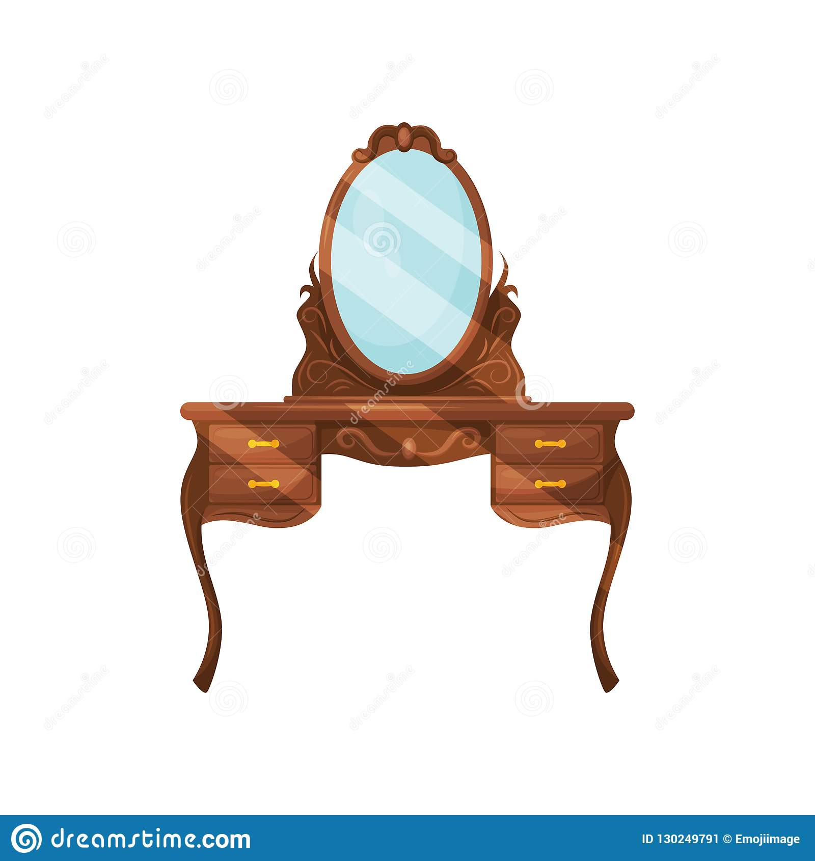 Dresser With Oval Mirror And Shelves Wooden Dressing Table