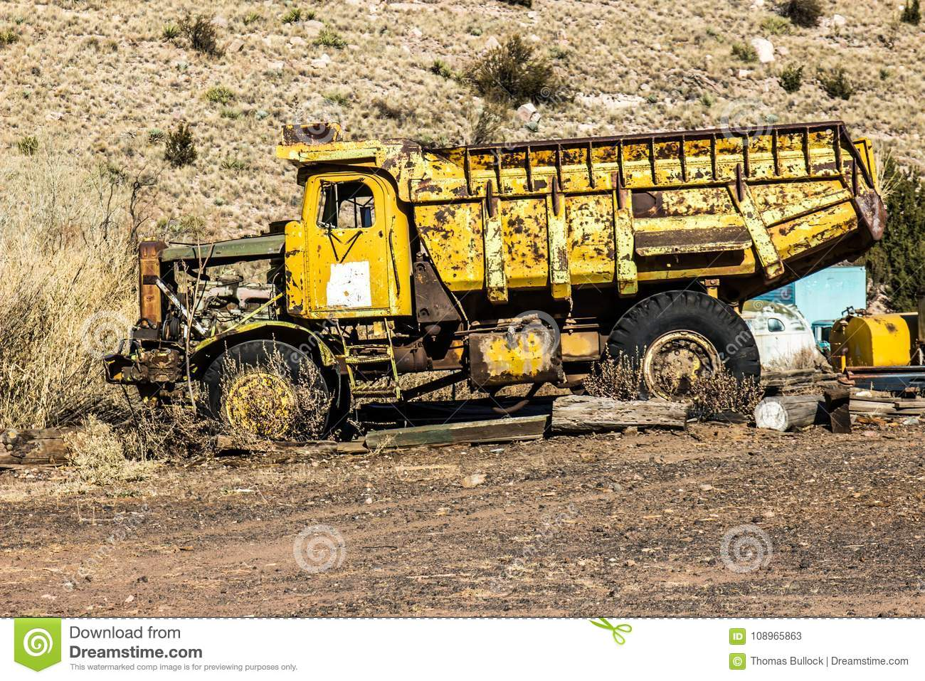 Vintage Dump Truck In Salvage Yard Stock Image - Image of