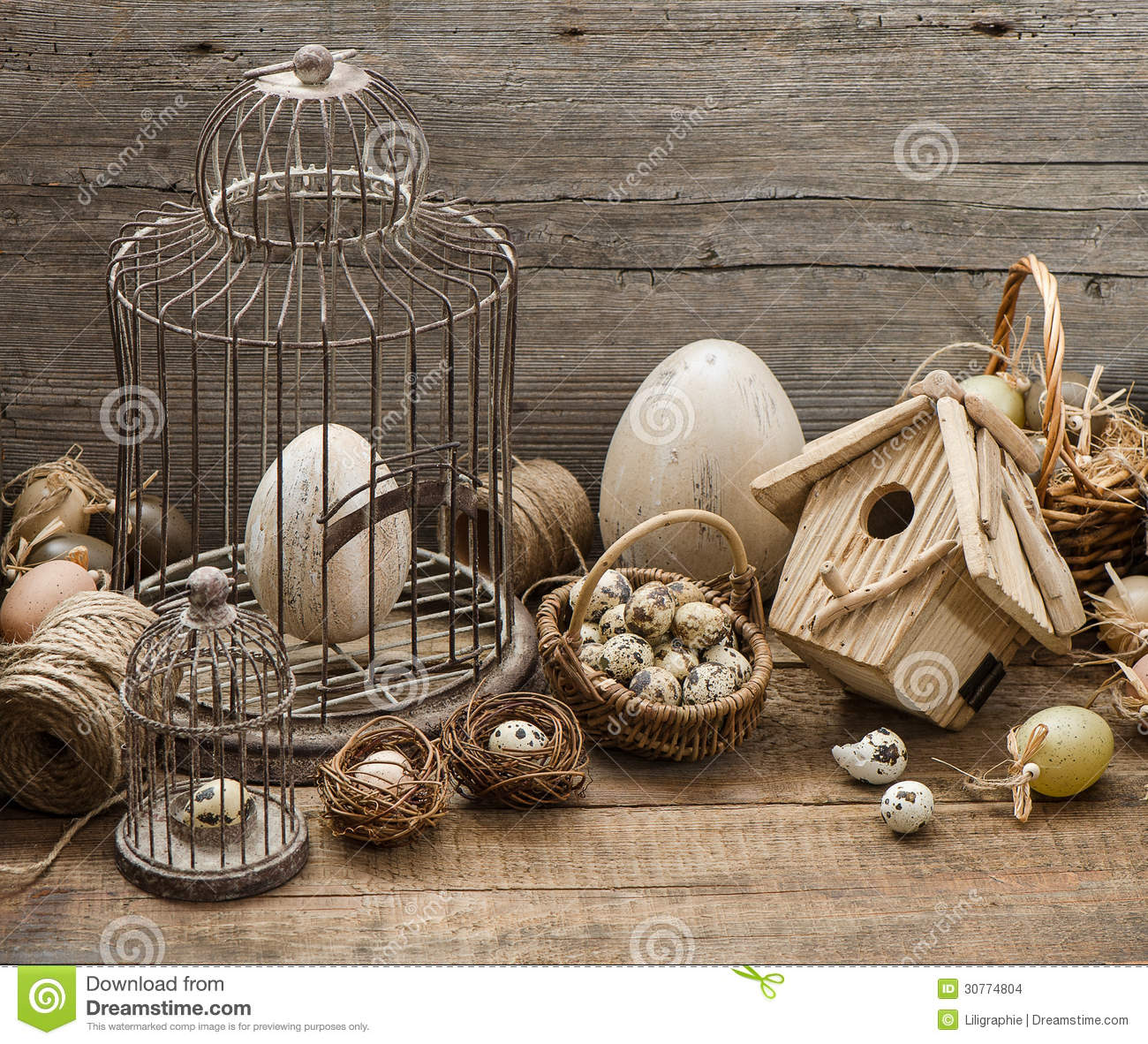 Vintage easter decoration with eggs and birdcage stock for Antique decoration