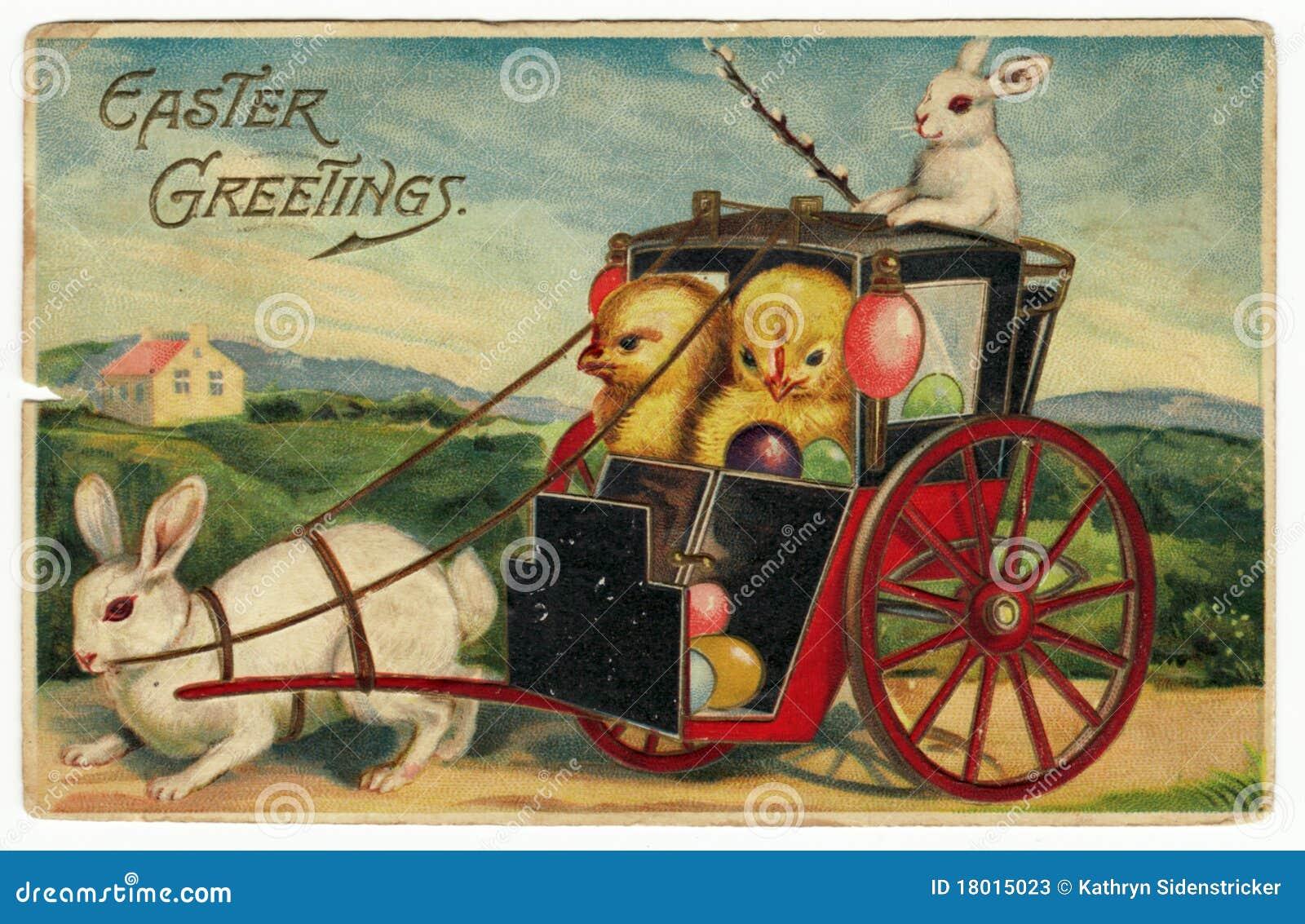 Vintage Easter Greetings Postcard Stock Image Image Of Chicks