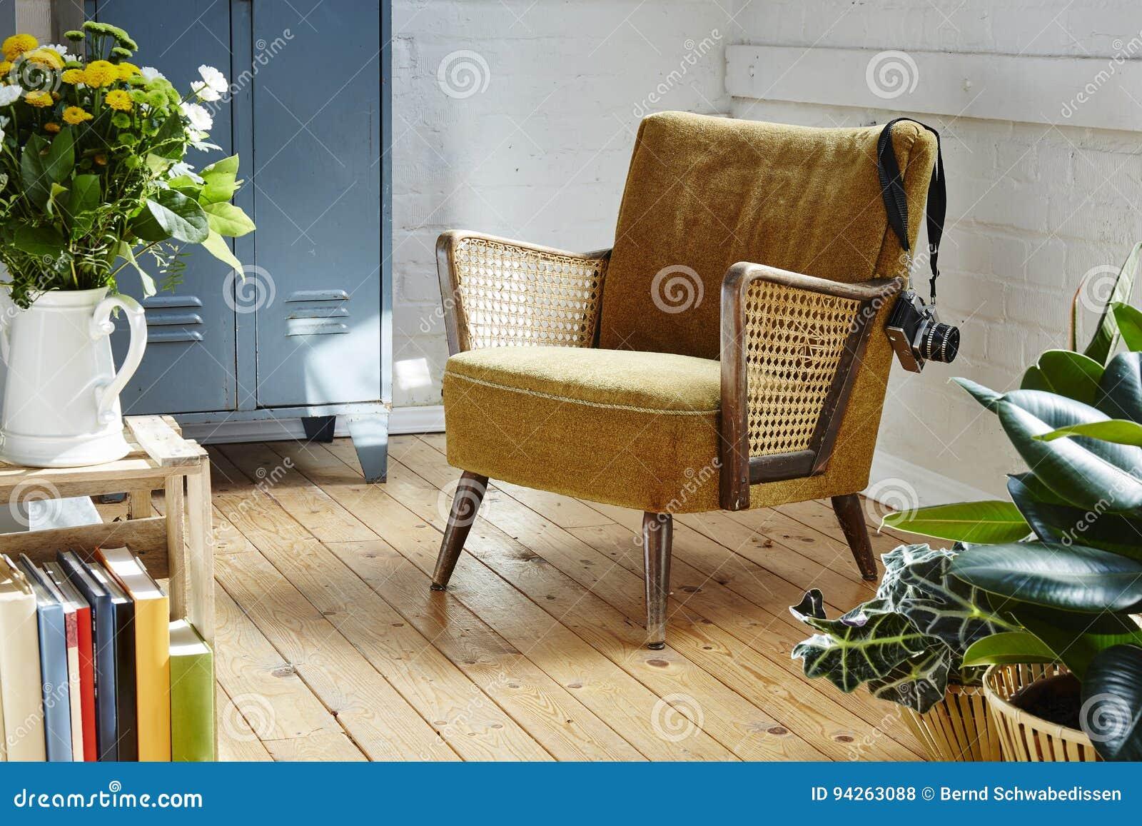 Vintage Easychair With Camera In Indutrial Loft Hipster Loft Studio Atelier  Interior Design