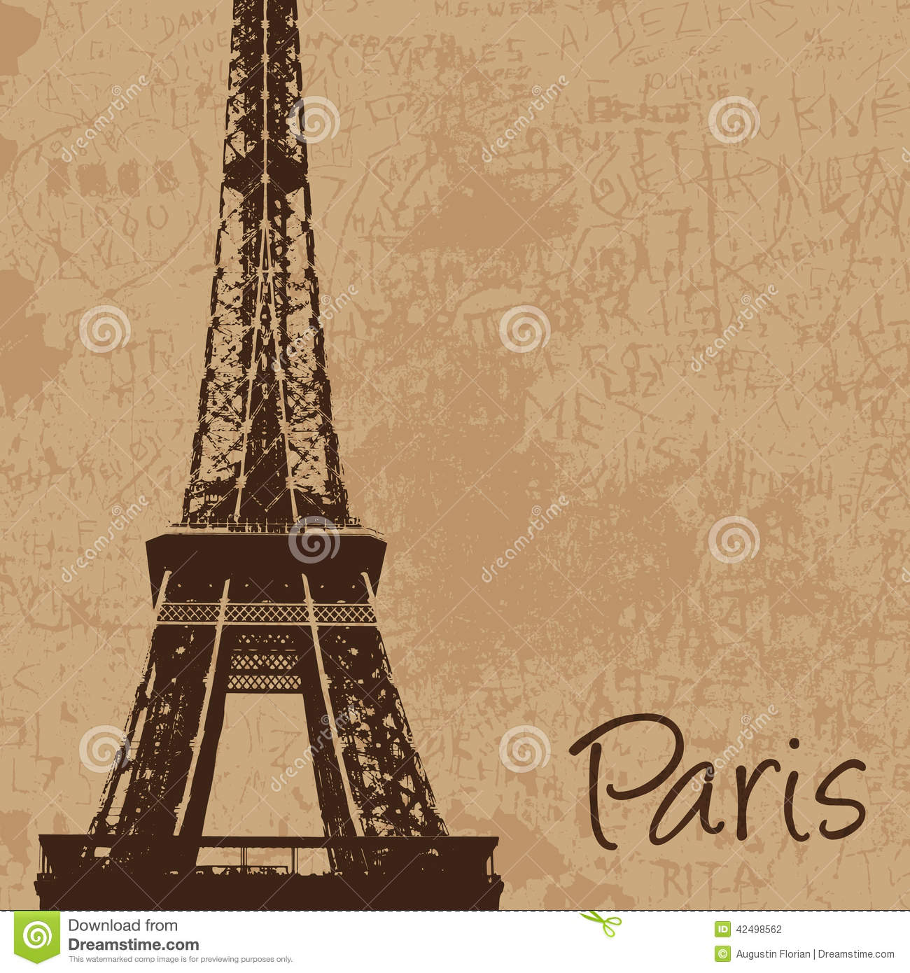 Vintage Eiffel Tower Stock Vector Image 42498562