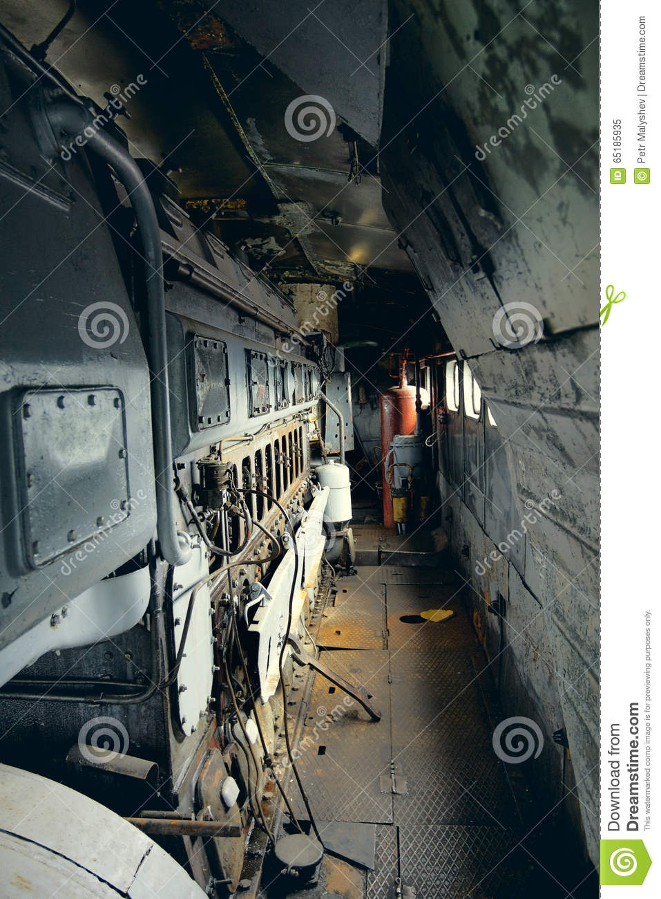 Vintage Electric Locomotive Interior Stock Image