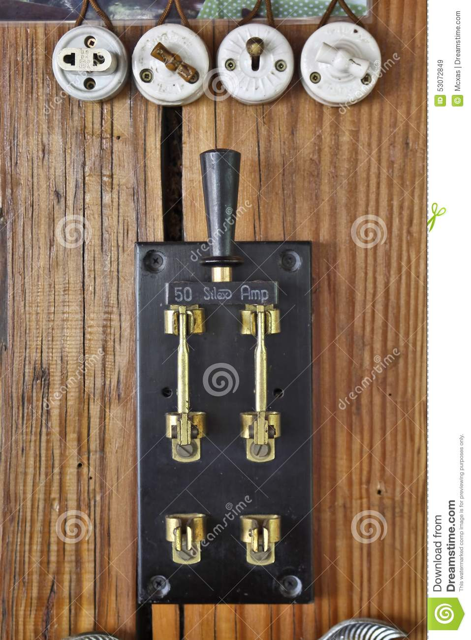 Vintage Electrical Switches Stock Image