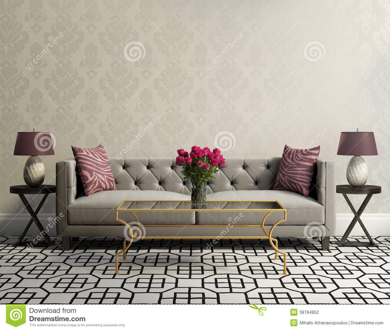 Vintage elegant living room with grey velvet sofa stock for Sala de estar vintage