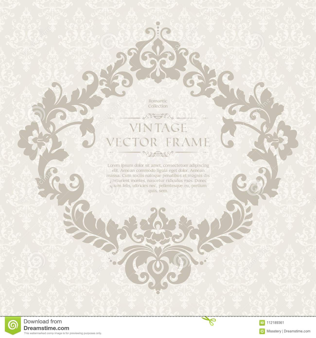 Vintage Elegant Template With Ornamental Pattern And Decorative