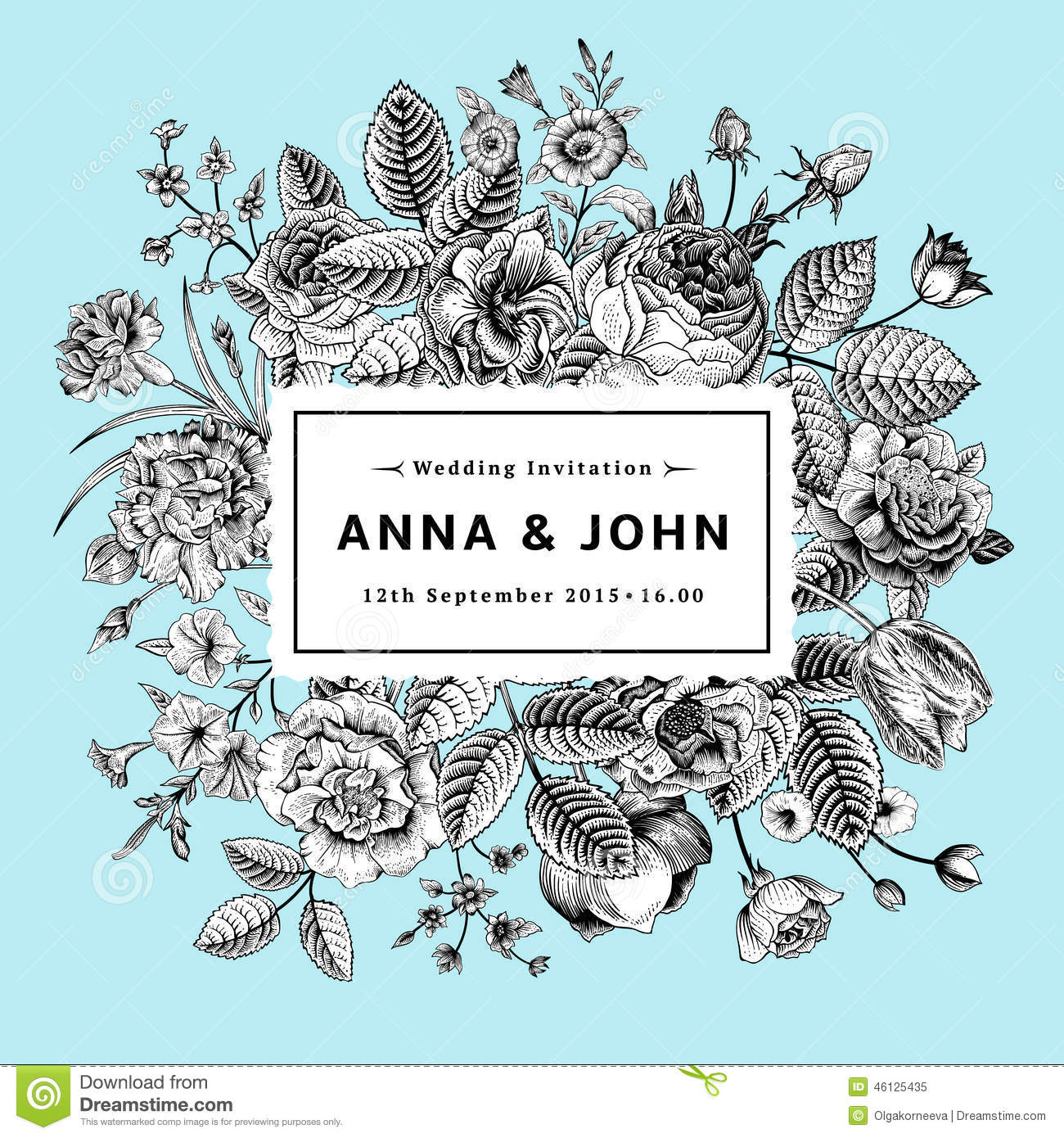 vintage elegant wedding invitation stock vector