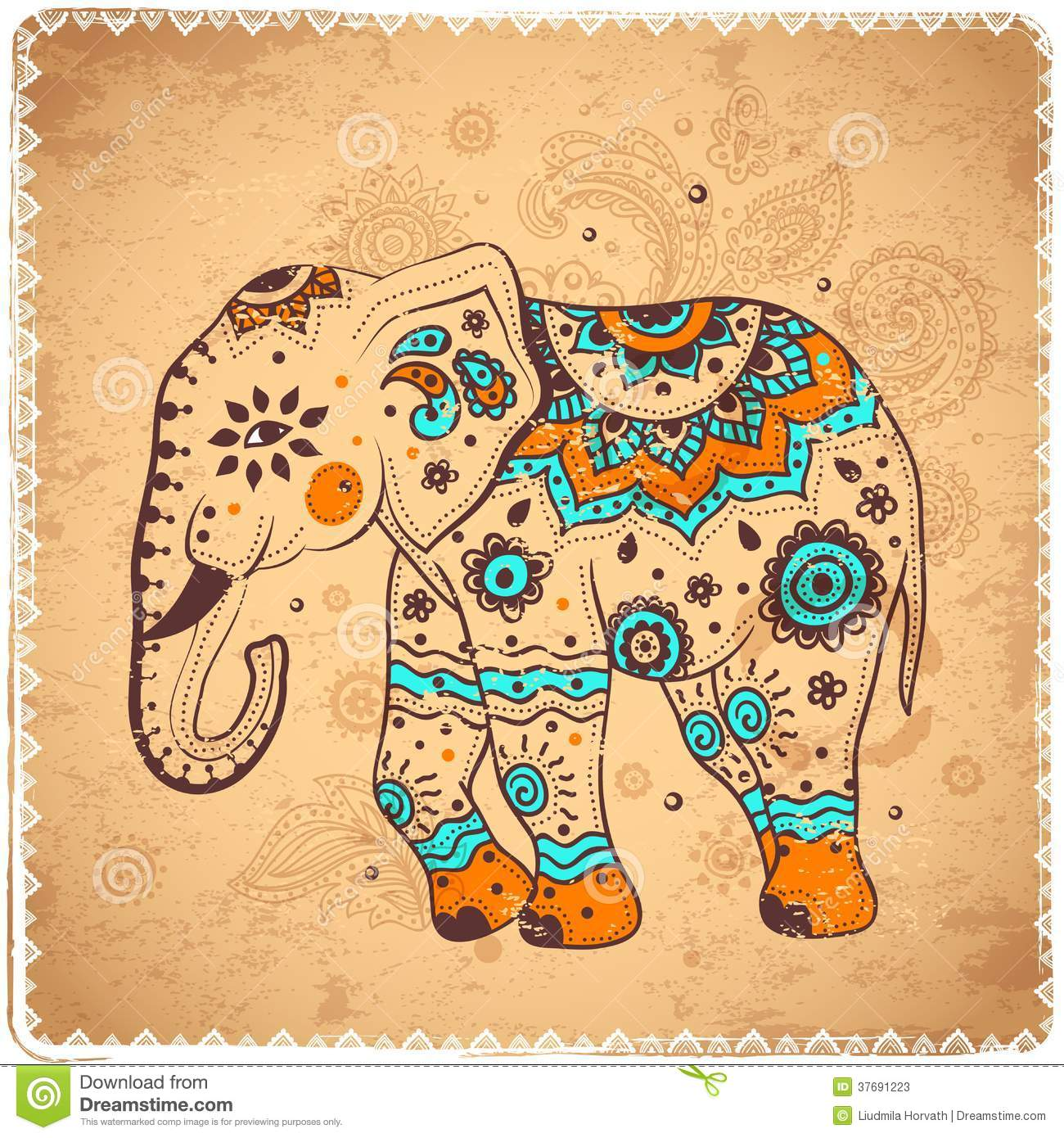Vintage elephant illustration cand be used as a greeting card Vintage Elephant Illustration