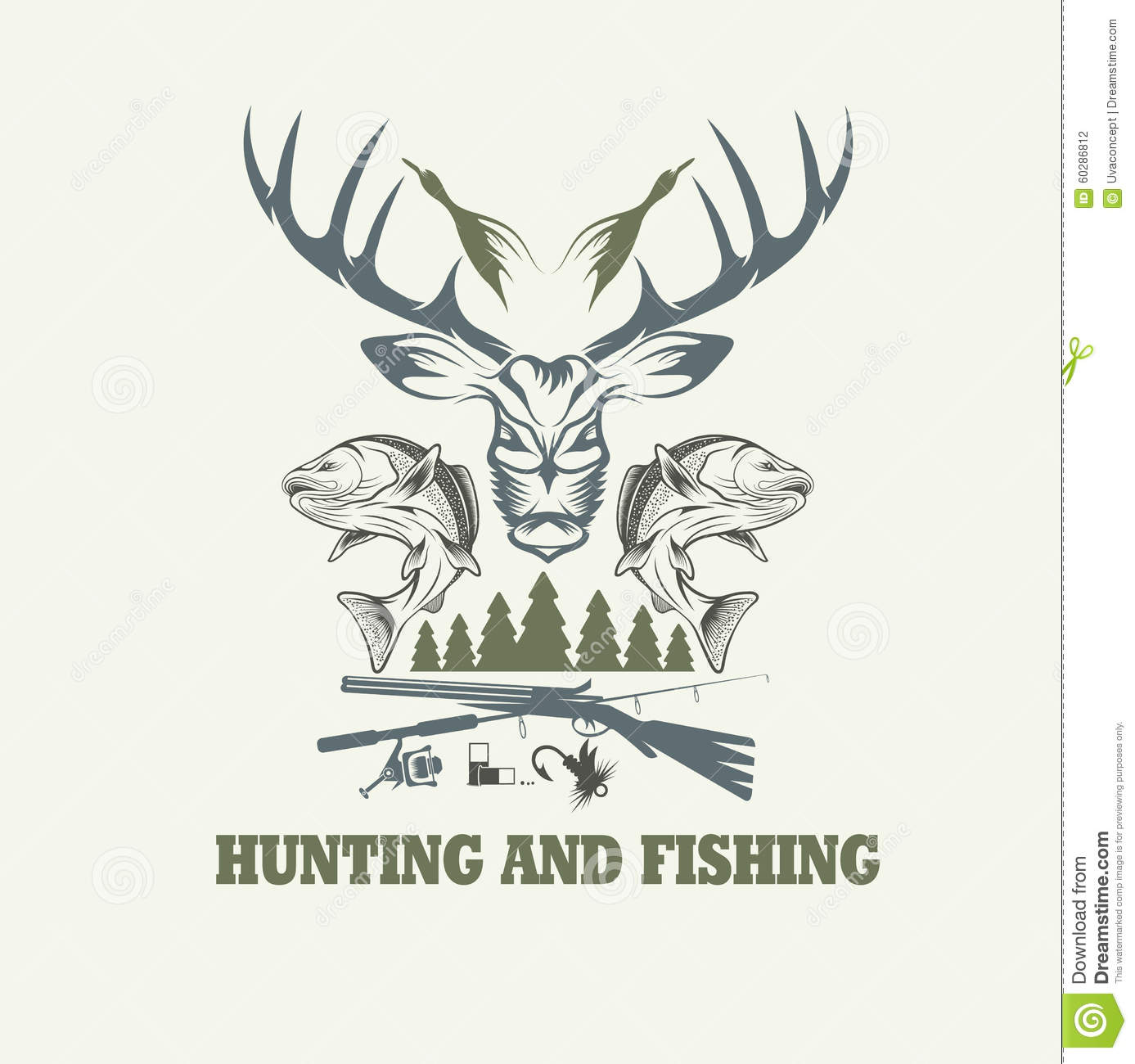 Vintage fishing vector design template cartoon vector for Hunting and fishing times