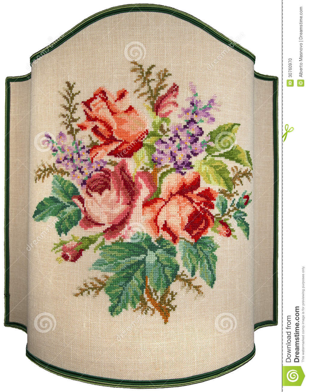 Vintage embroidery roses flowers and leaves stock photo