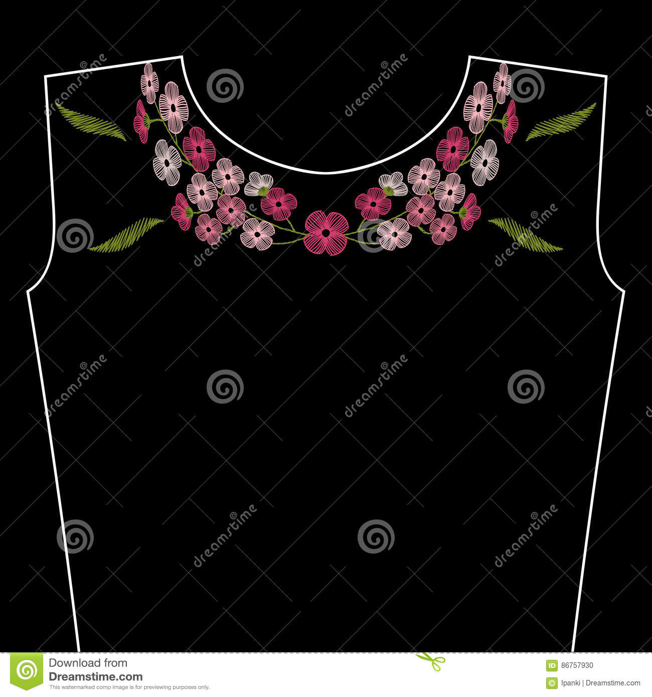 Vintage Embroidery Stitches With Spring Pink Flowers For Neckline