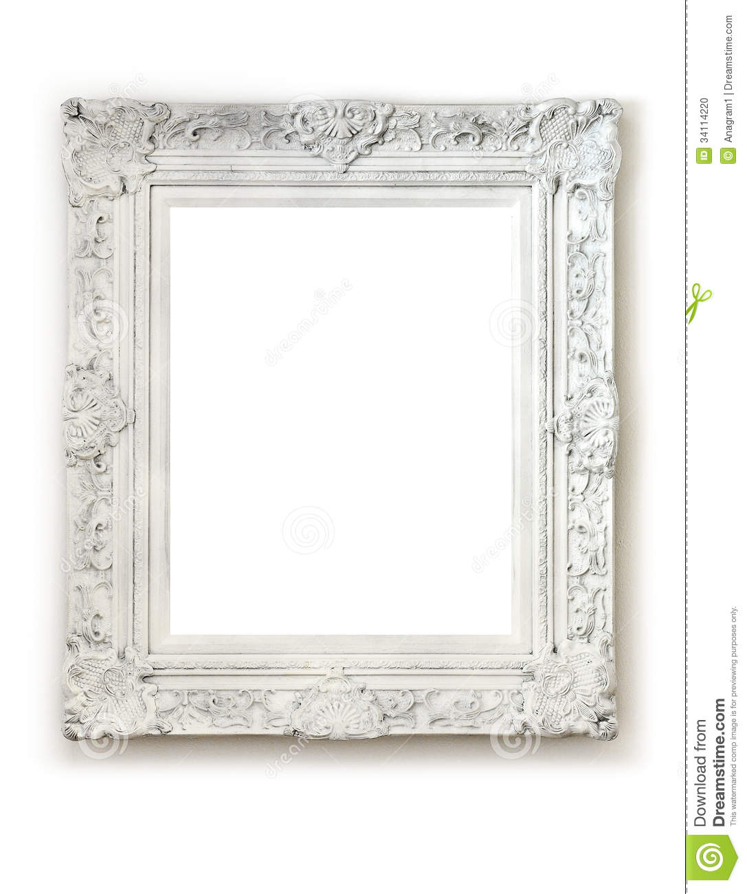 Vintage empty frame on white wall stock photo image - Antique white picture frames ...