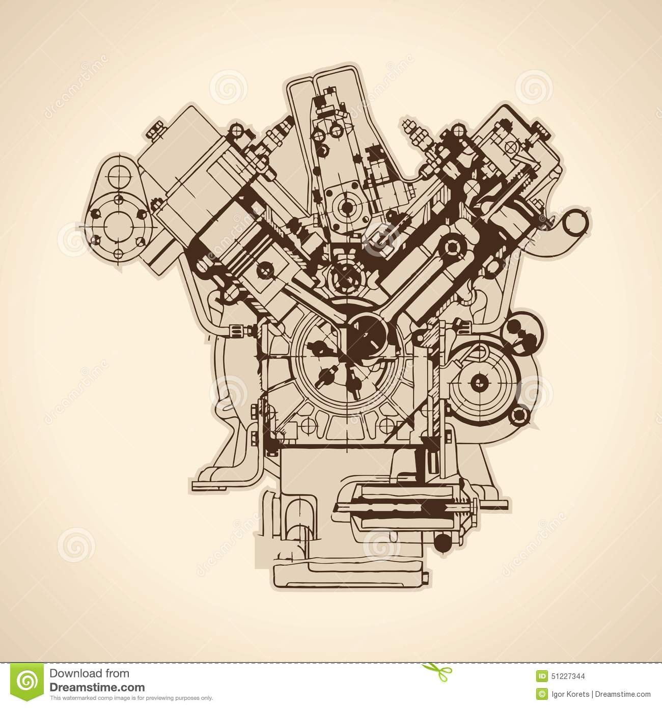 Vintage Engine, Old Picture. Vector Stock Vector - Illustration of