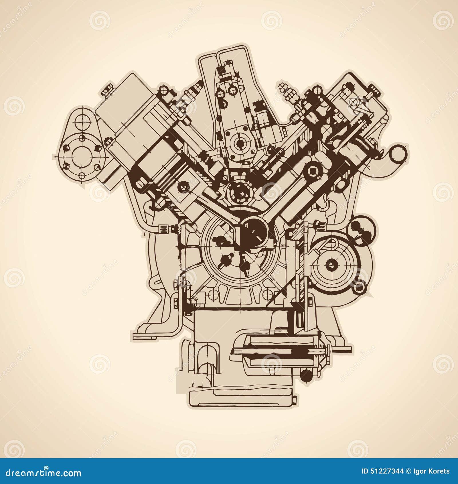 Vintage Engine Diagram - House Wiring Diagram Symbols •