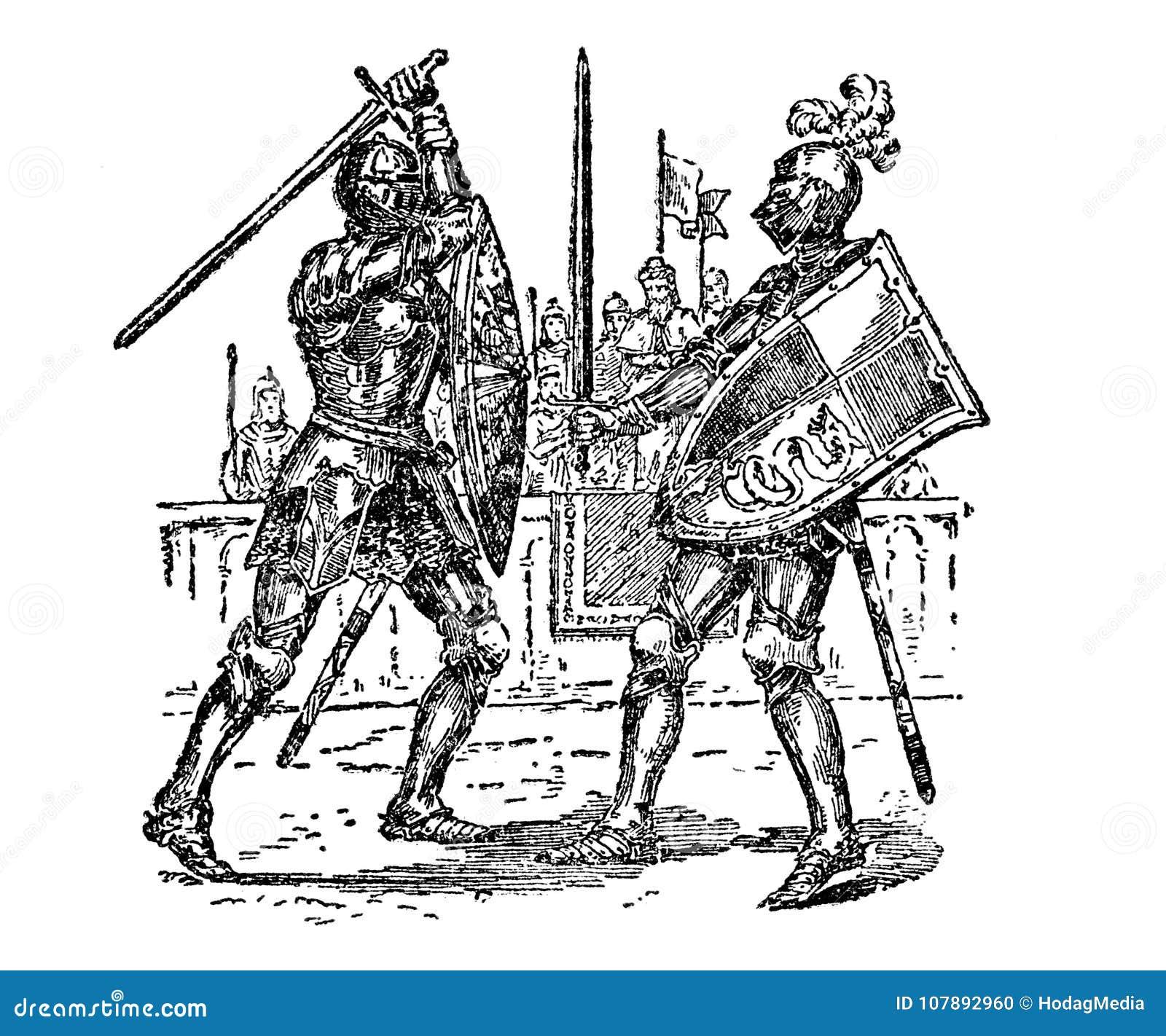 vintage engraved art knights fighting duel stock illustration