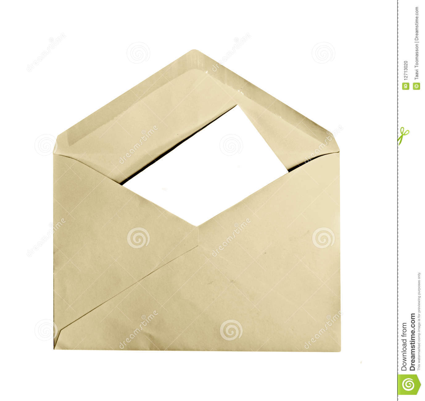 vintage envelope with letter inside stock photo image of