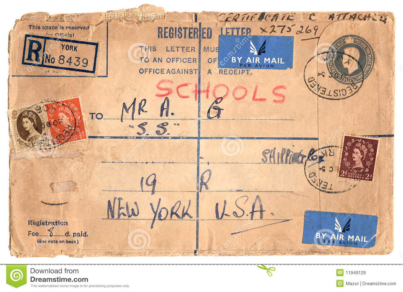 Vintage Envelope With Stamps Stock Image Image Of