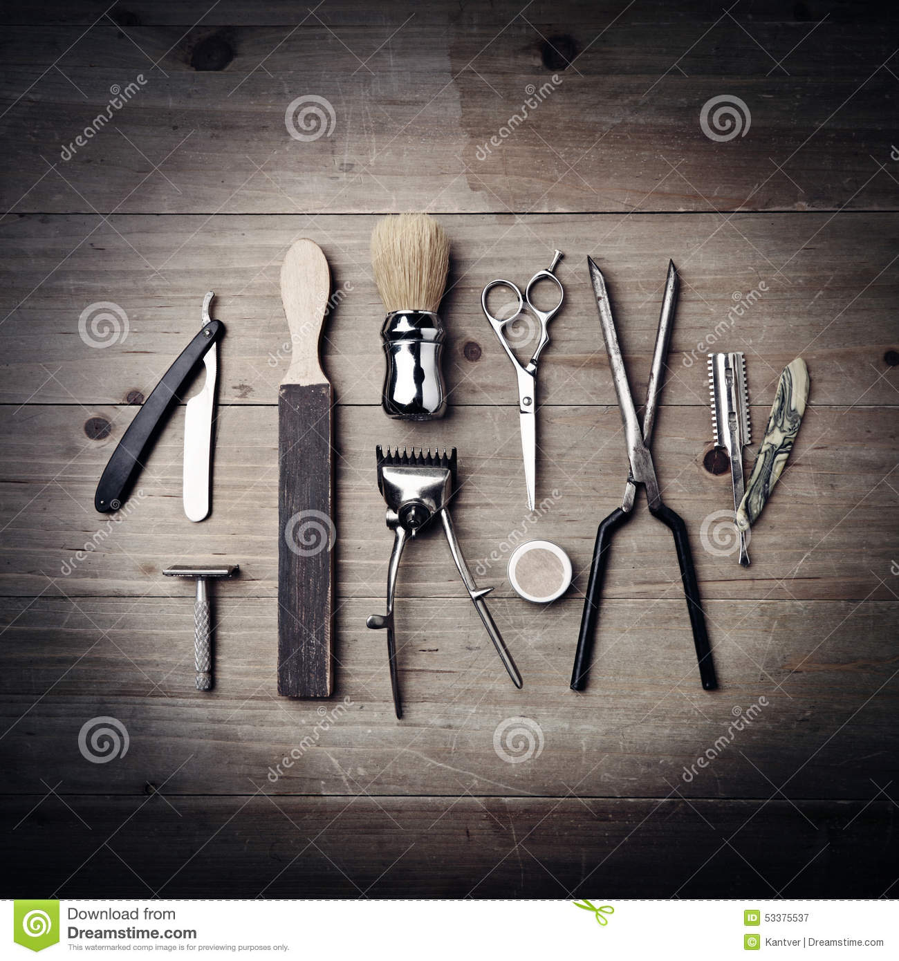 Vintage Equipment Of A Barber On Wood Background Stock