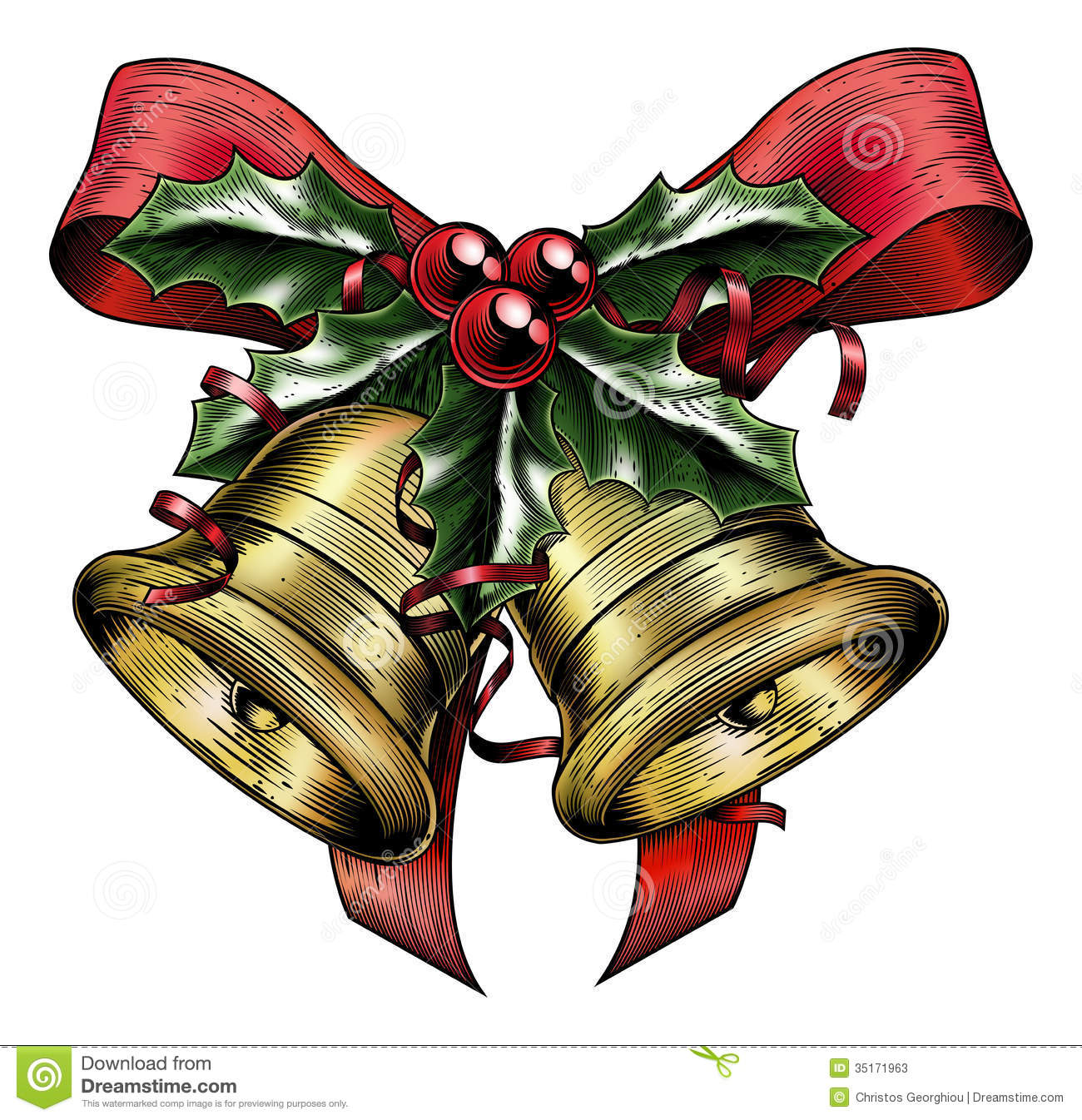 Vintage Etching Christmas Holly Bow Stock Photos - Image: 35171963