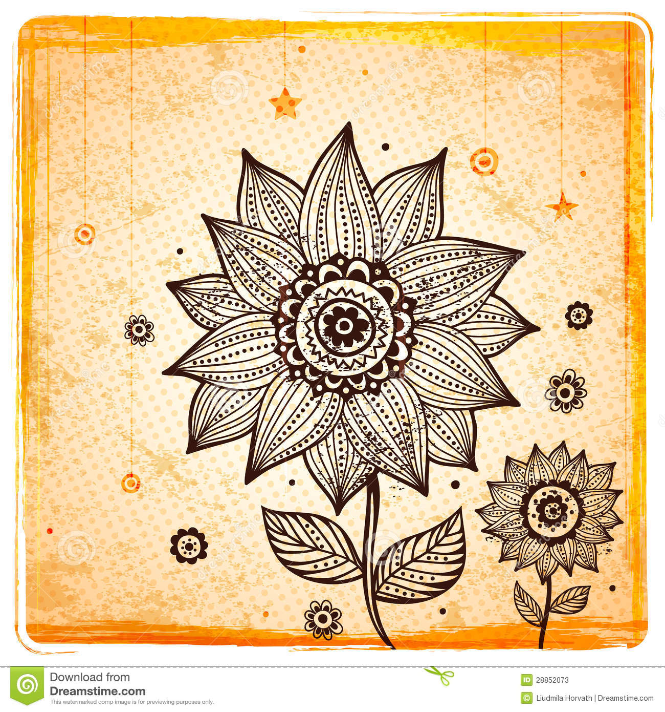 vintage ethnic sunflower background stock vector image