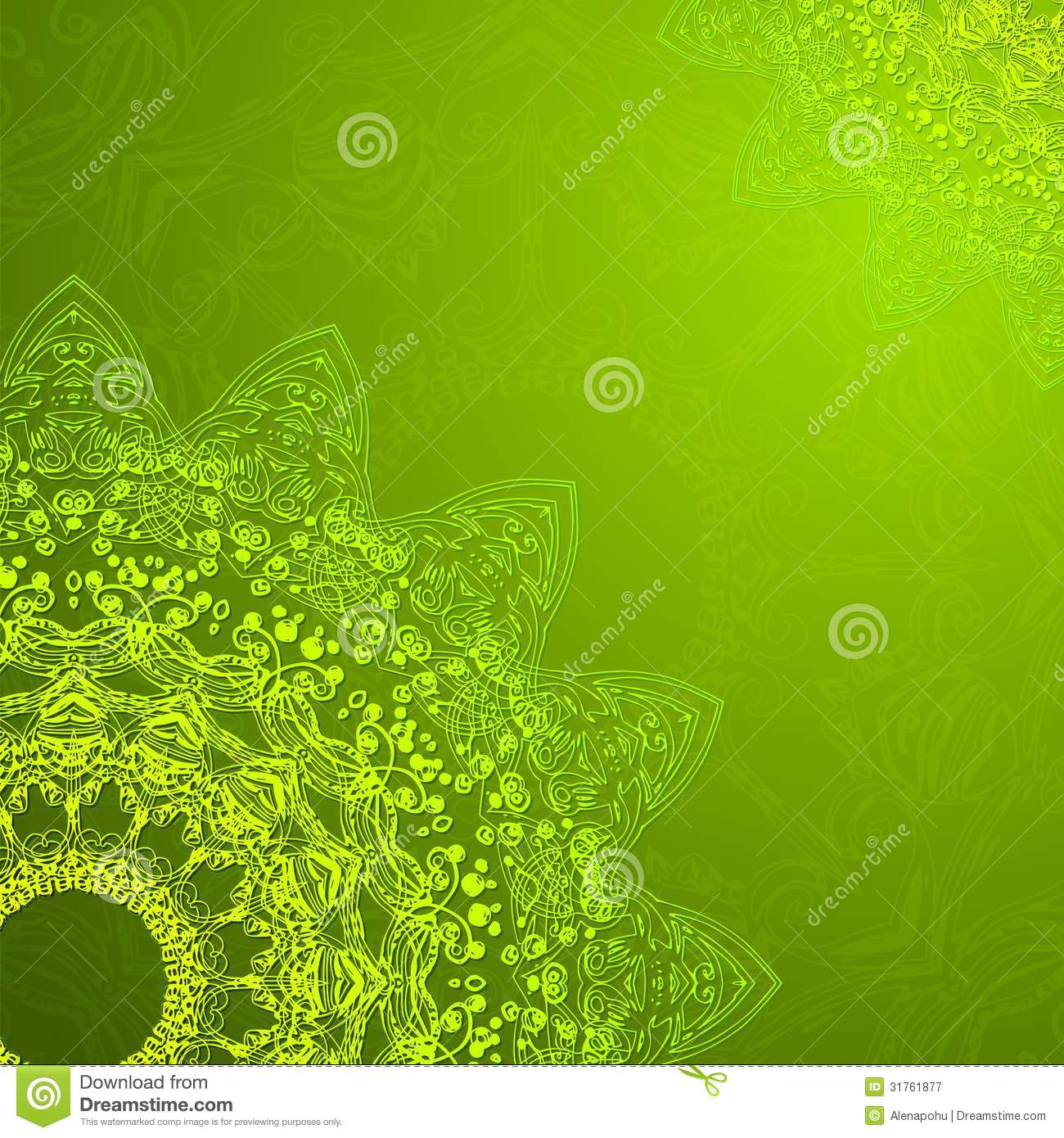 Vintage Ethnic Vector Ornament Mandala Background Royalty Free Stock ... Green Texture Repeating Background