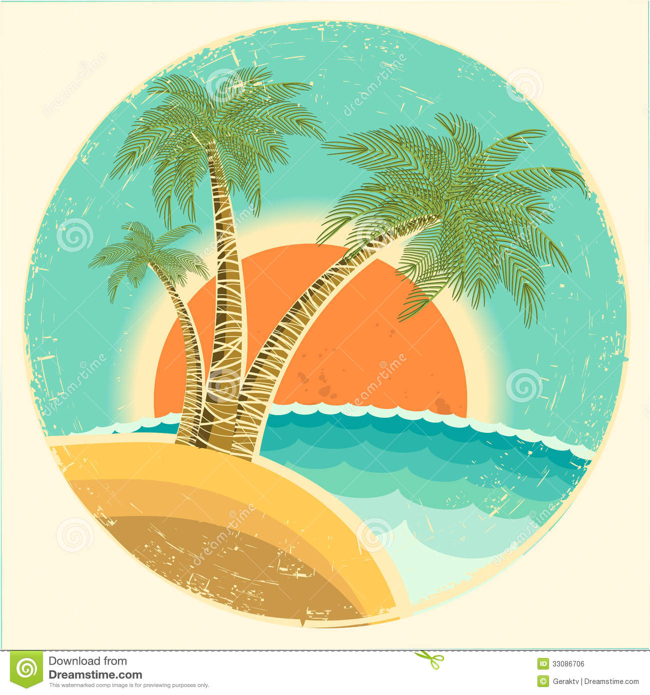 Vintage Beach Background Stock Photo 112981333: Vintage Exotic Tropical Island With Palms And Sun Royalty