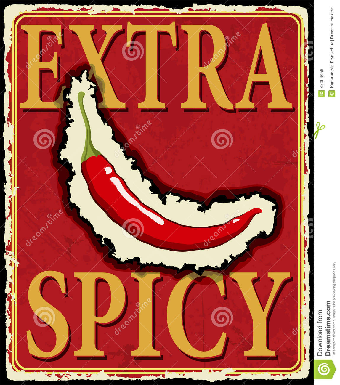 vintage extra spicy poster vector illustration stock