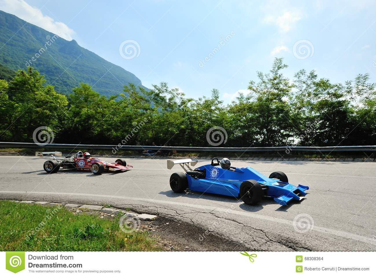 A Vintage F3 Car Followed By A Red Formula Ford Takes Part To The ...