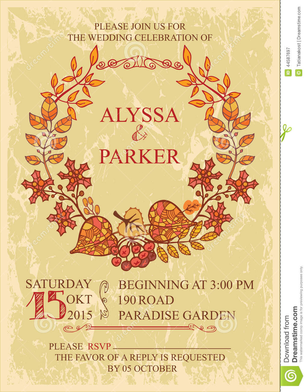 Royalty Free Vector Download Vintage Fall Wedding Invitation