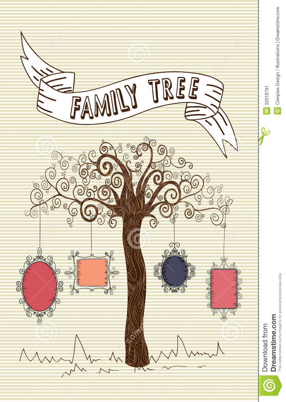 Vintage Family Frames Tree Stock Vector Illustration Of